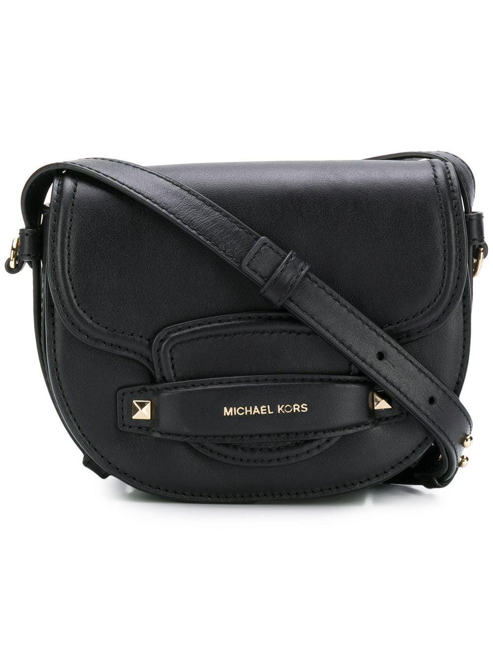 233040c6961afa Michael Kors Black Leather Shoulder Bag in Black - Save 43% - Lyst