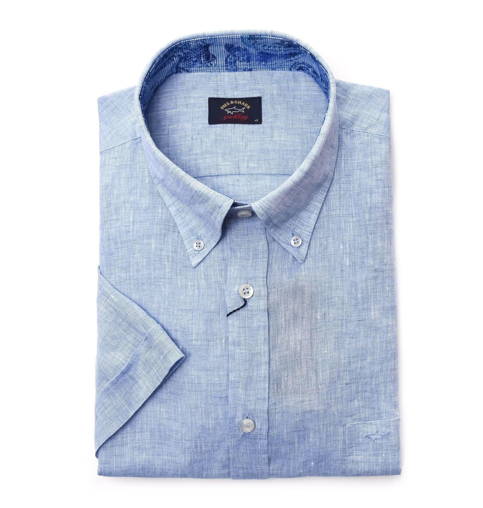 Paul Amp Shark Light Blue Linen Shirt For Men Lyst