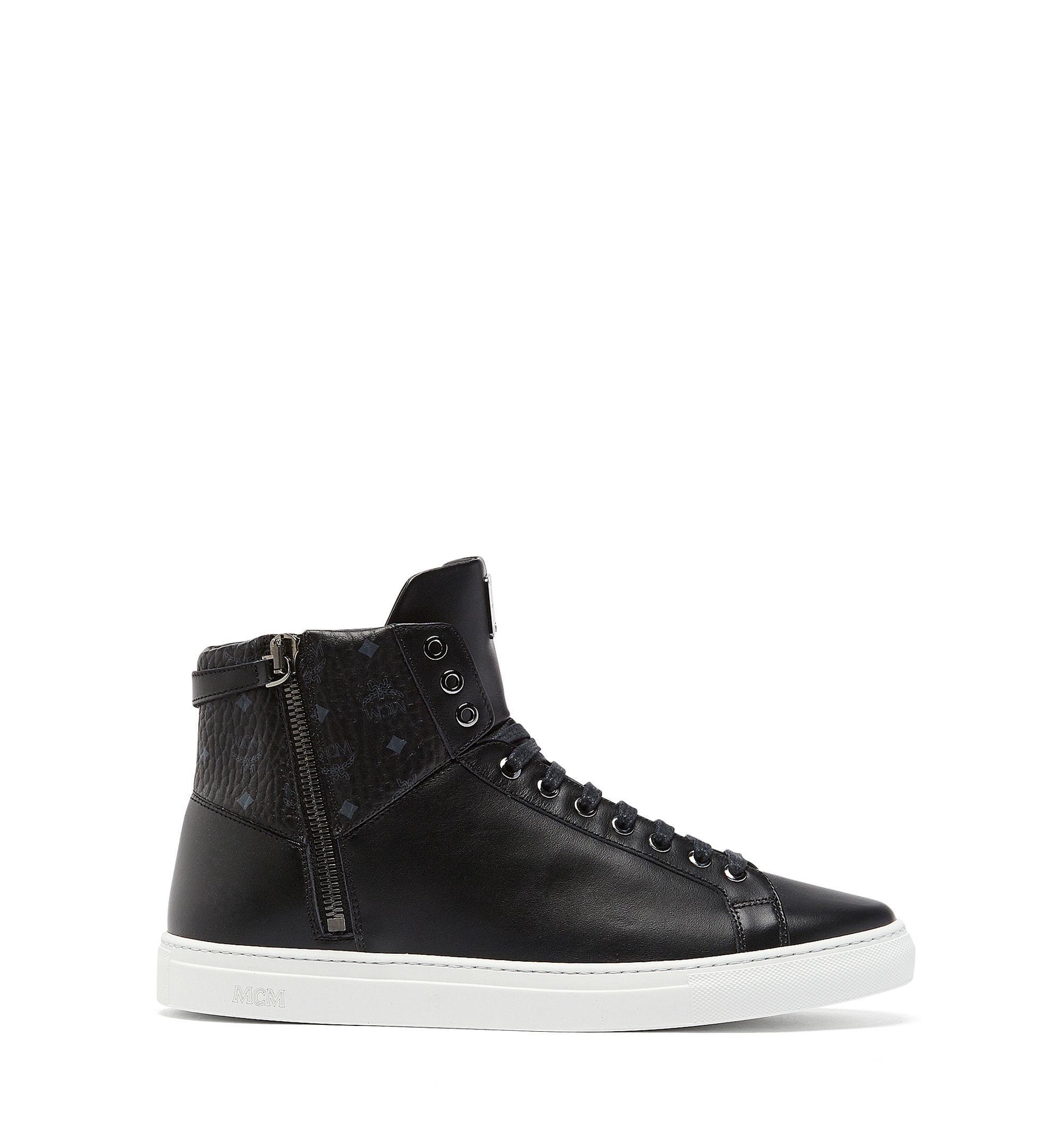 43ca25dcea5 Lyst - MCM High Top Classic Zip Sneakers In Leather in Black