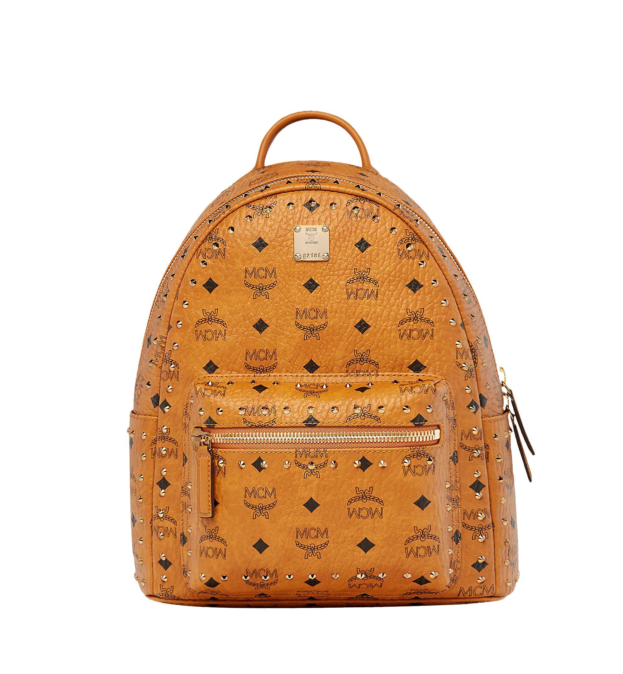 3f94b8959d2 MCM - Brown Stark Backpack In Gunta M Studs Visetos for Men - Lyst. View  fullscreen