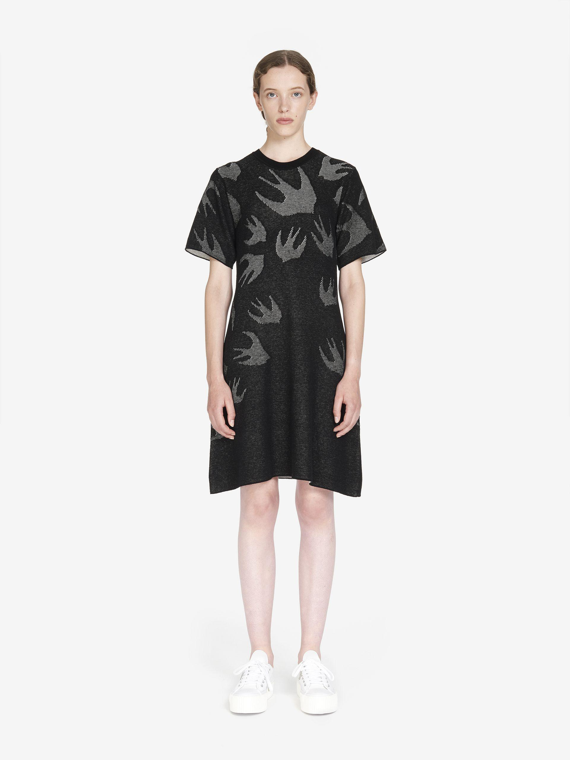a46f17d0acac McQ Signature Swallow Pointelle Mini Dress in Black - Lyst