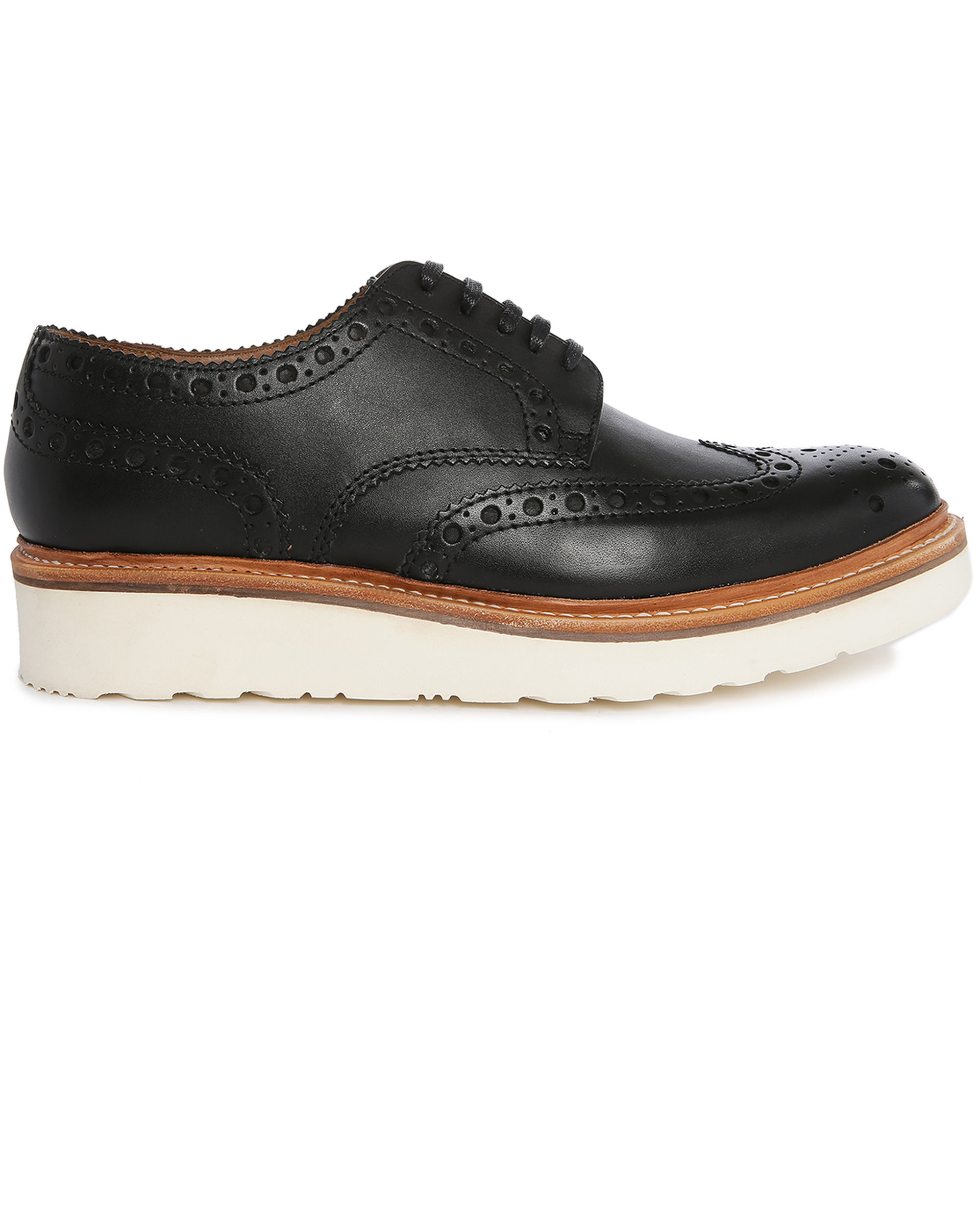 grenson archie v black brogue shoes with floral toe and
