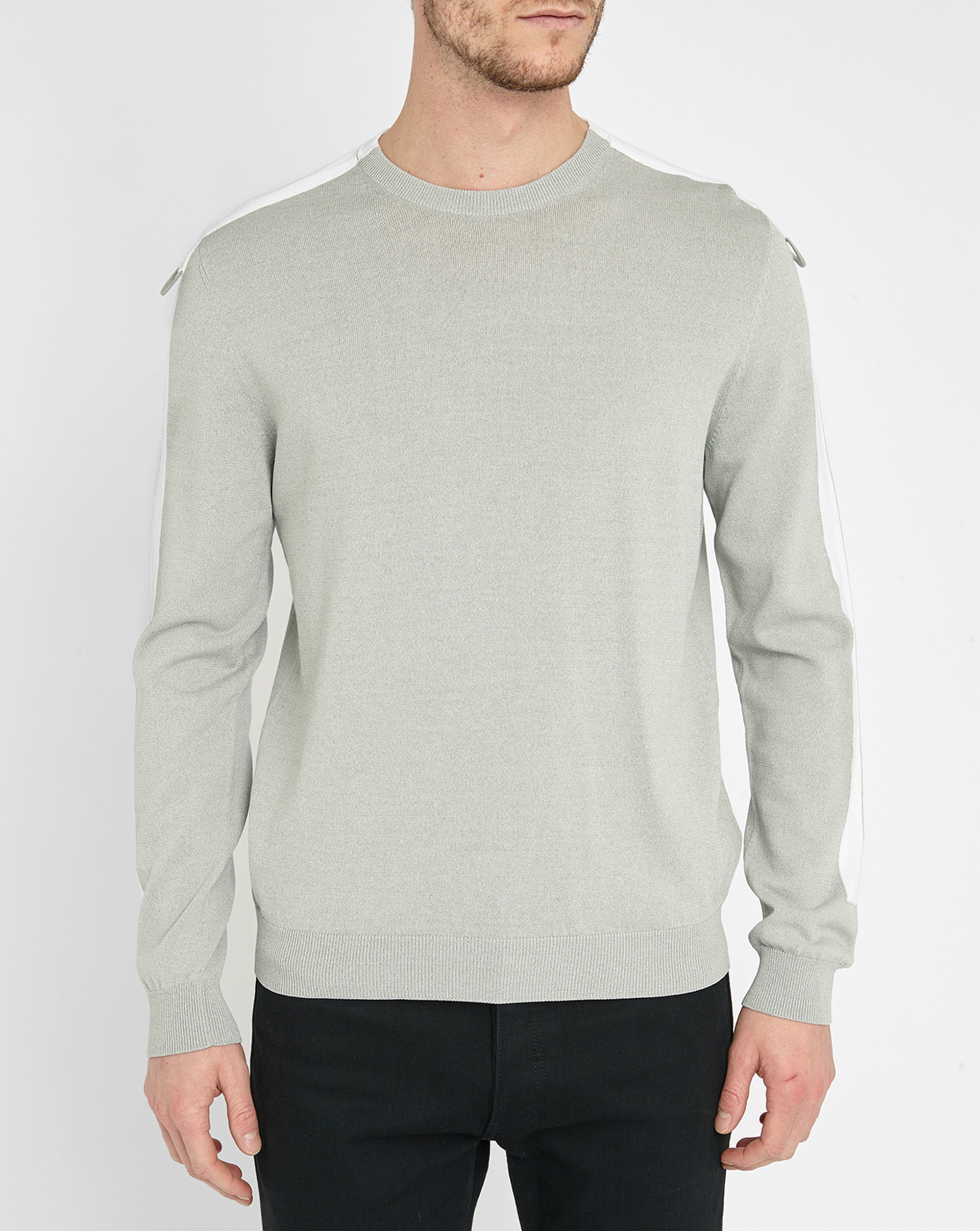 kenzo grey beige round neck sweater with beige stripe in gray for men lyst. Black Bedroom Furniture Sets. Home Design Ideas