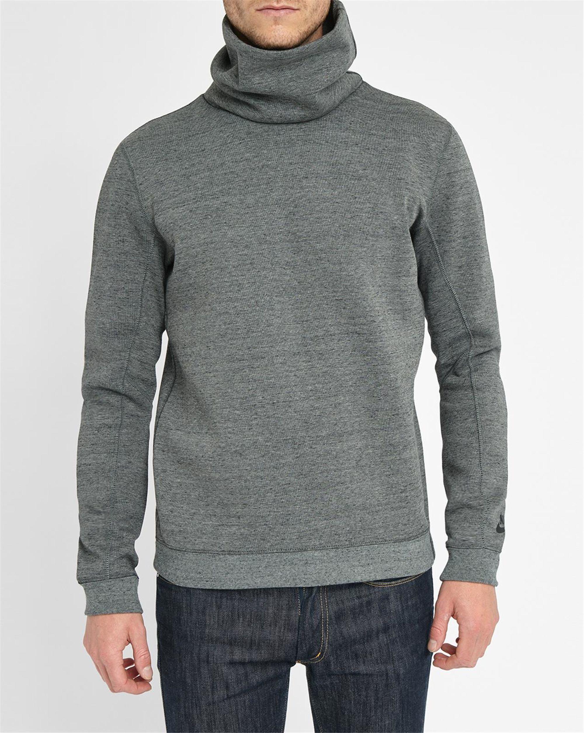 Nike Grey Techfleece Turtleneck Sweatshirt In Gray For Men