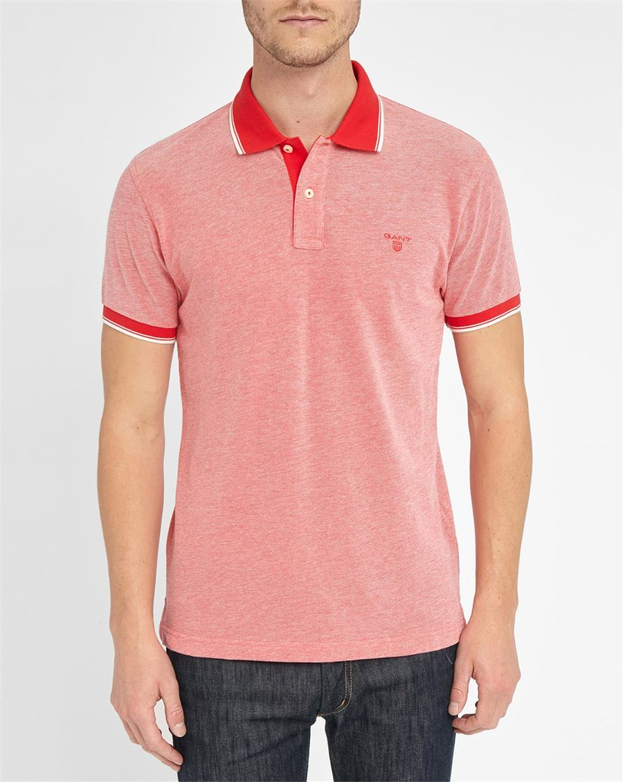 Gant red pique knit oxford polo shirt in red for men lyst for Knitted polo shirt mens
