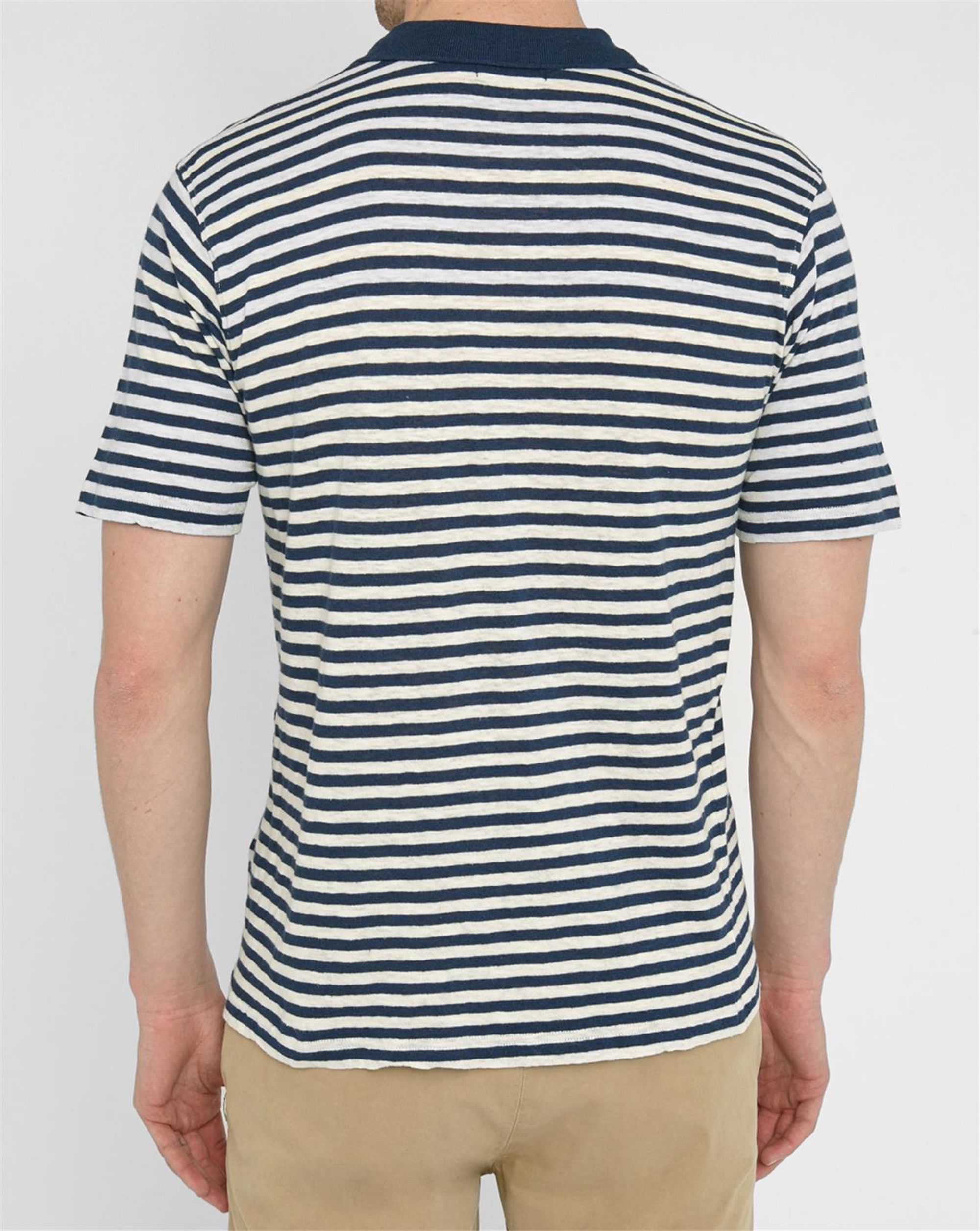 Armor Lux Navy And Ecru Cotton Linen Sailor Stripe Polo