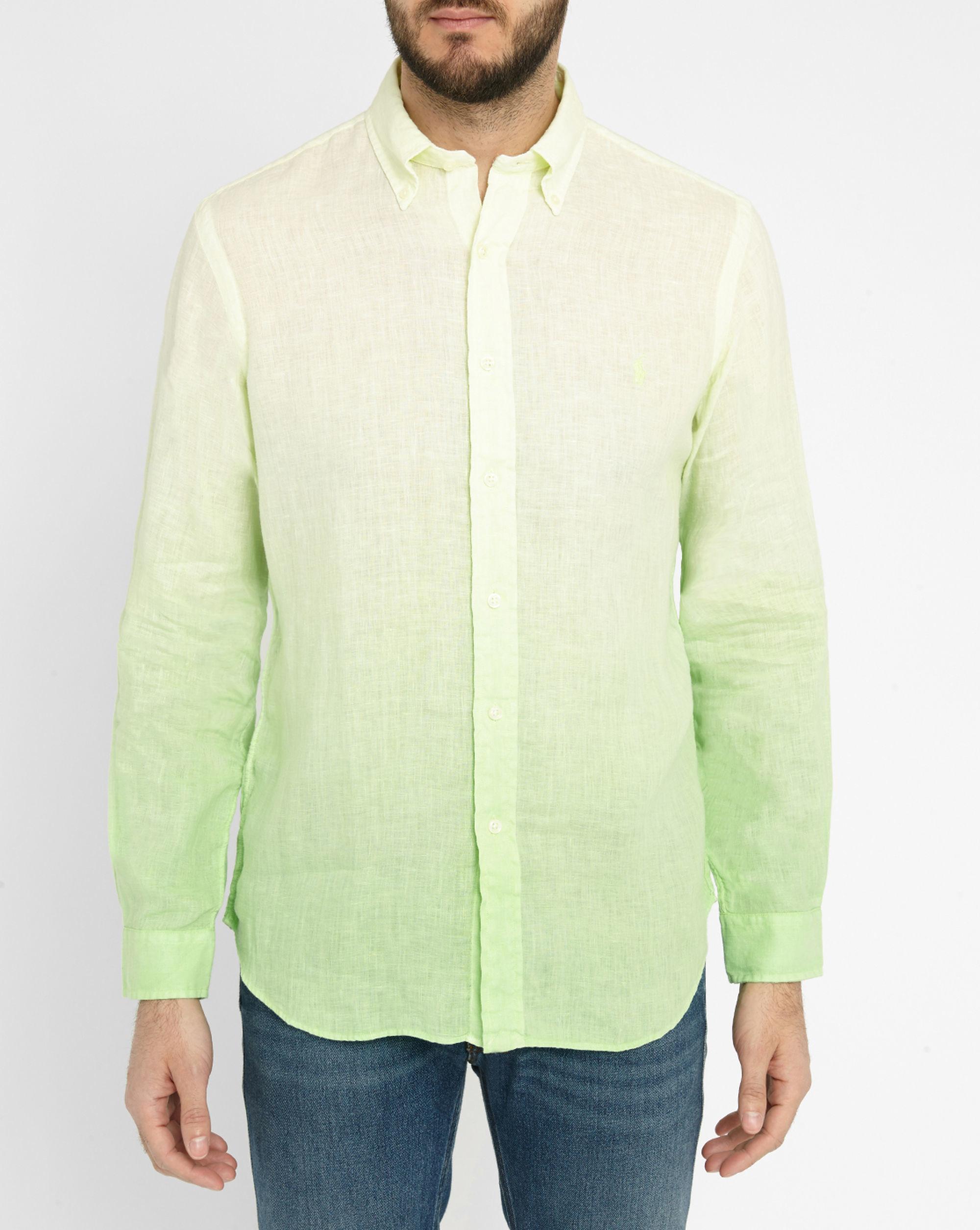 Polo Ralph Lauren Lime Tie Dye Linen Shirt In Green For
