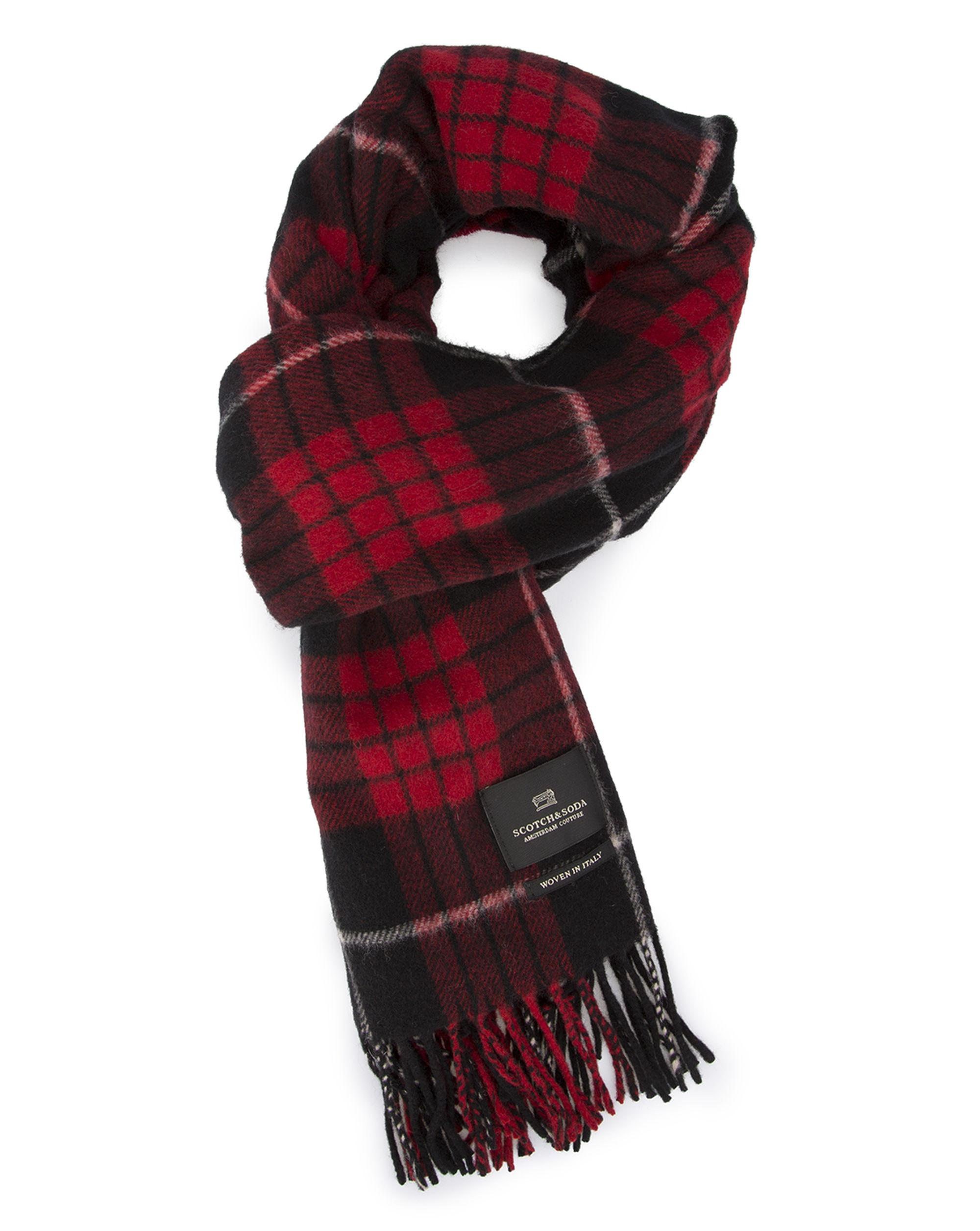 scotch soda blue and plaid scarf in blue for lyst