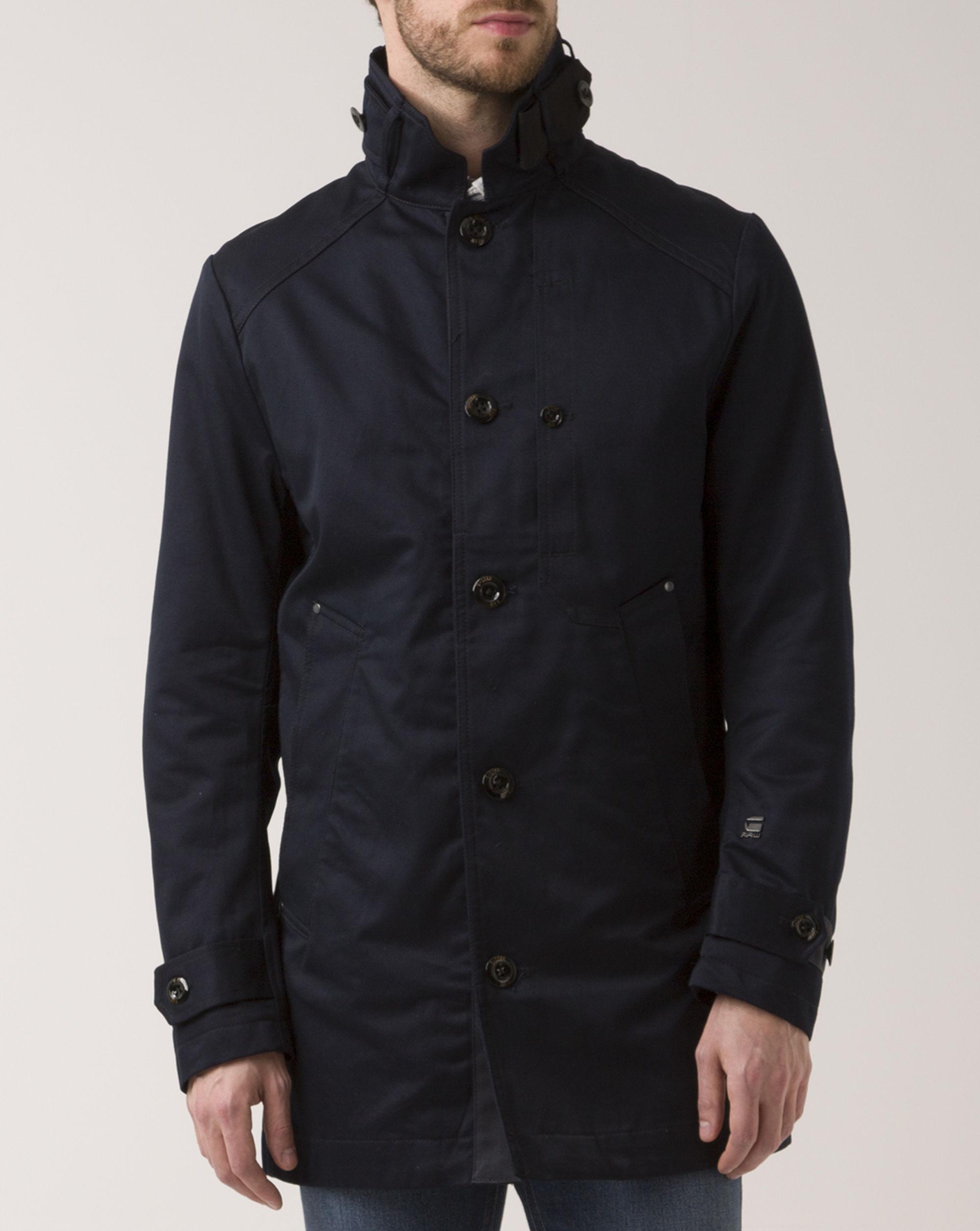 g star raw navy blue garber trenchcoat in blue for men lyst. Black Bedroom Furniture Sets. Home Design Ideas