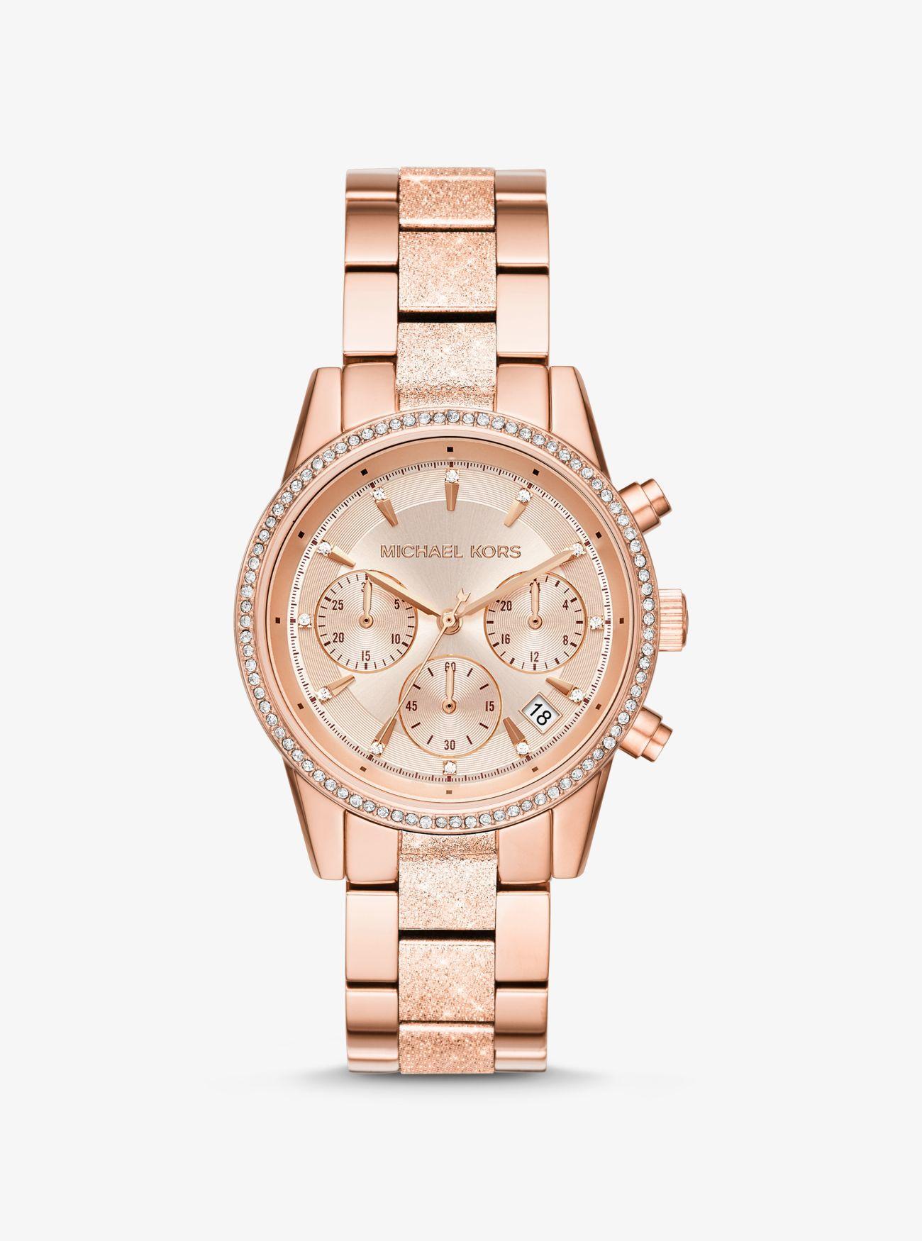 6cd7ea620b63 Lyst - Michael Kors Ritz Pave Textured Rose Gold-tone Watch