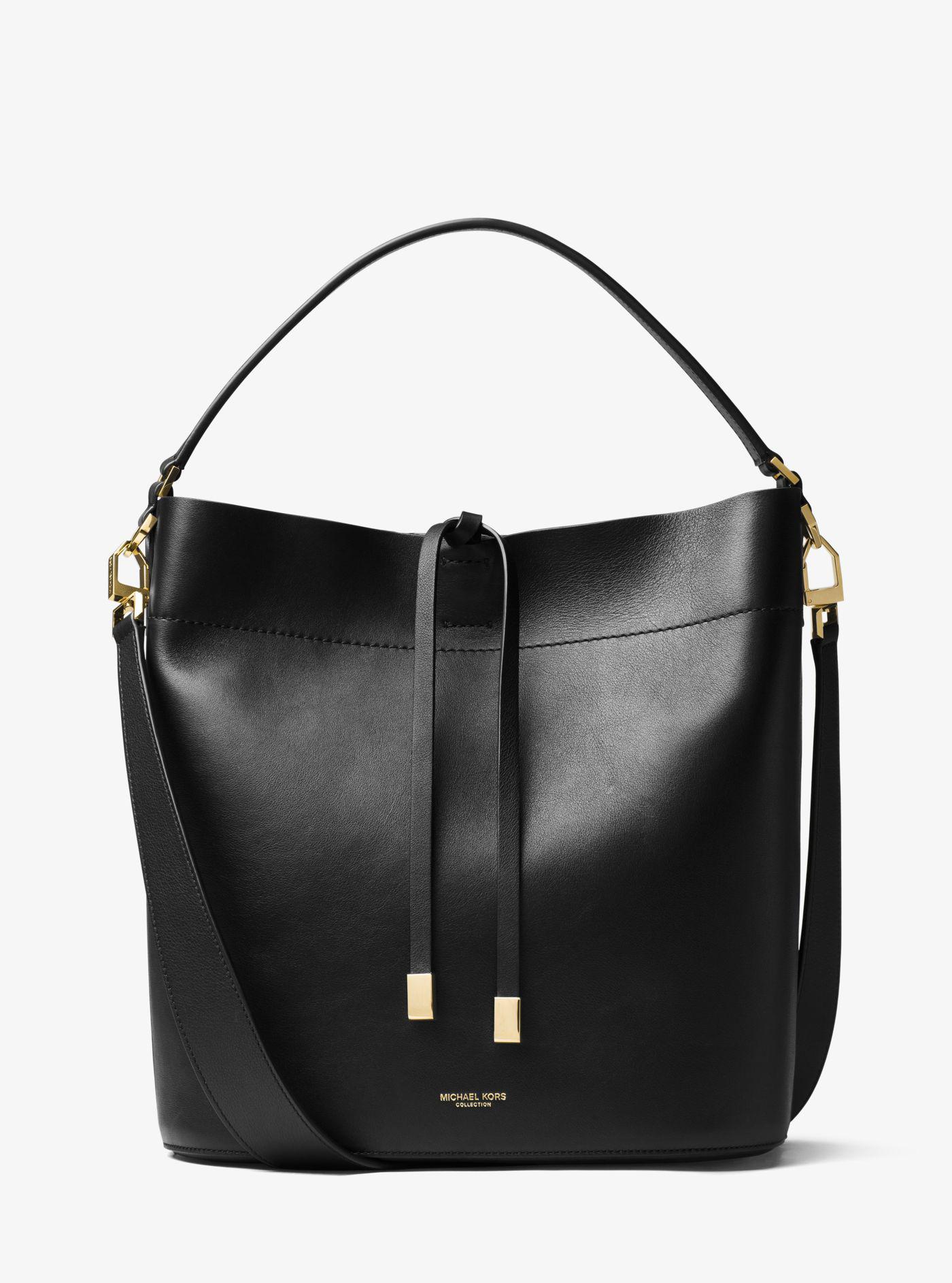 6f6129469f78 Michael Kors Miranda Large Leather Shoulder Bag in Black - Lyst