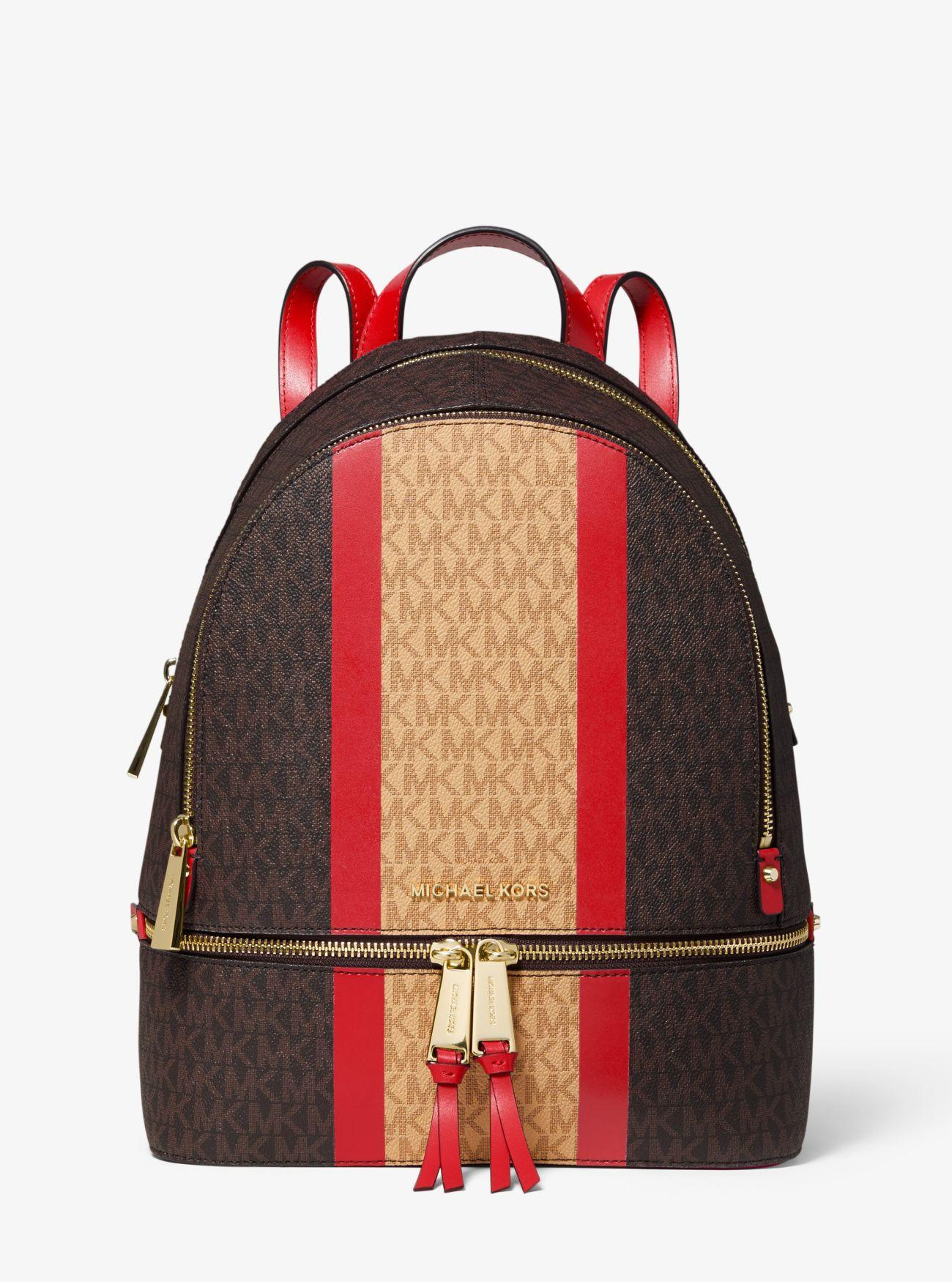 d94678a25d73 Michael Kors - Red Rhea Medium Striped Logo And Leather Backpack - Lyst.  View fullscreen