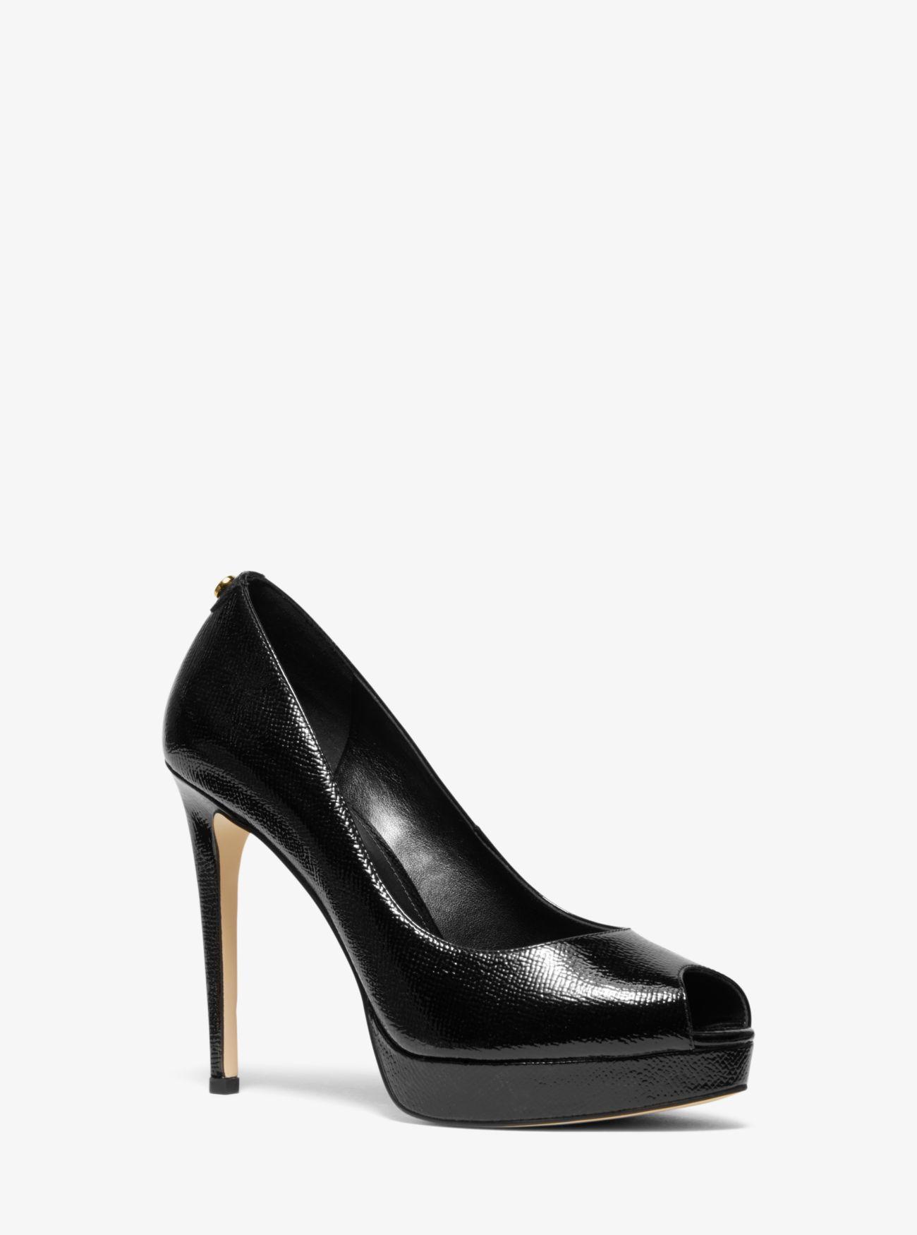 96c1b38490f0 Lyst - Michael Kors Erika Patent Leather Open-toe Pump in Black