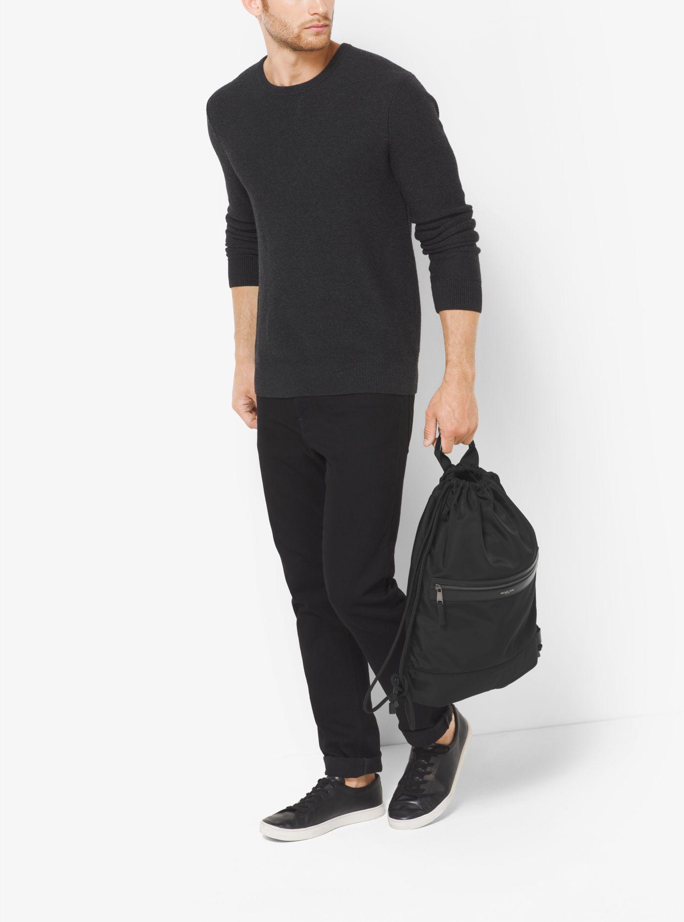 c7757de645 f81afcfb5349 Michael Kors Kent Nylon Drawstring Backpack in Black for Men -  Lyst ...