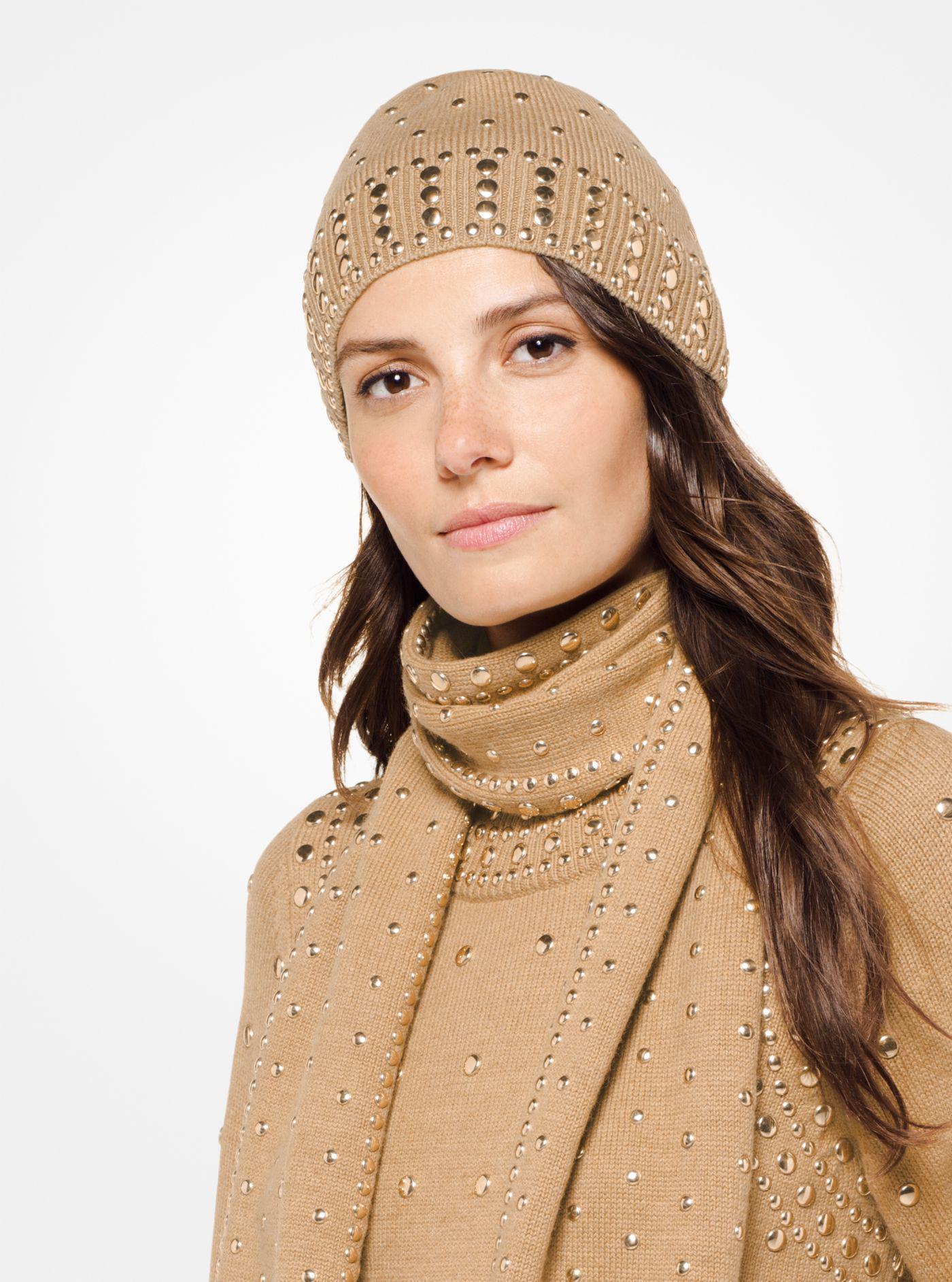 Michael Kors - Natural Studded Wool-blend Beanie - Lyst. View fullscreen 903272a9fe6f