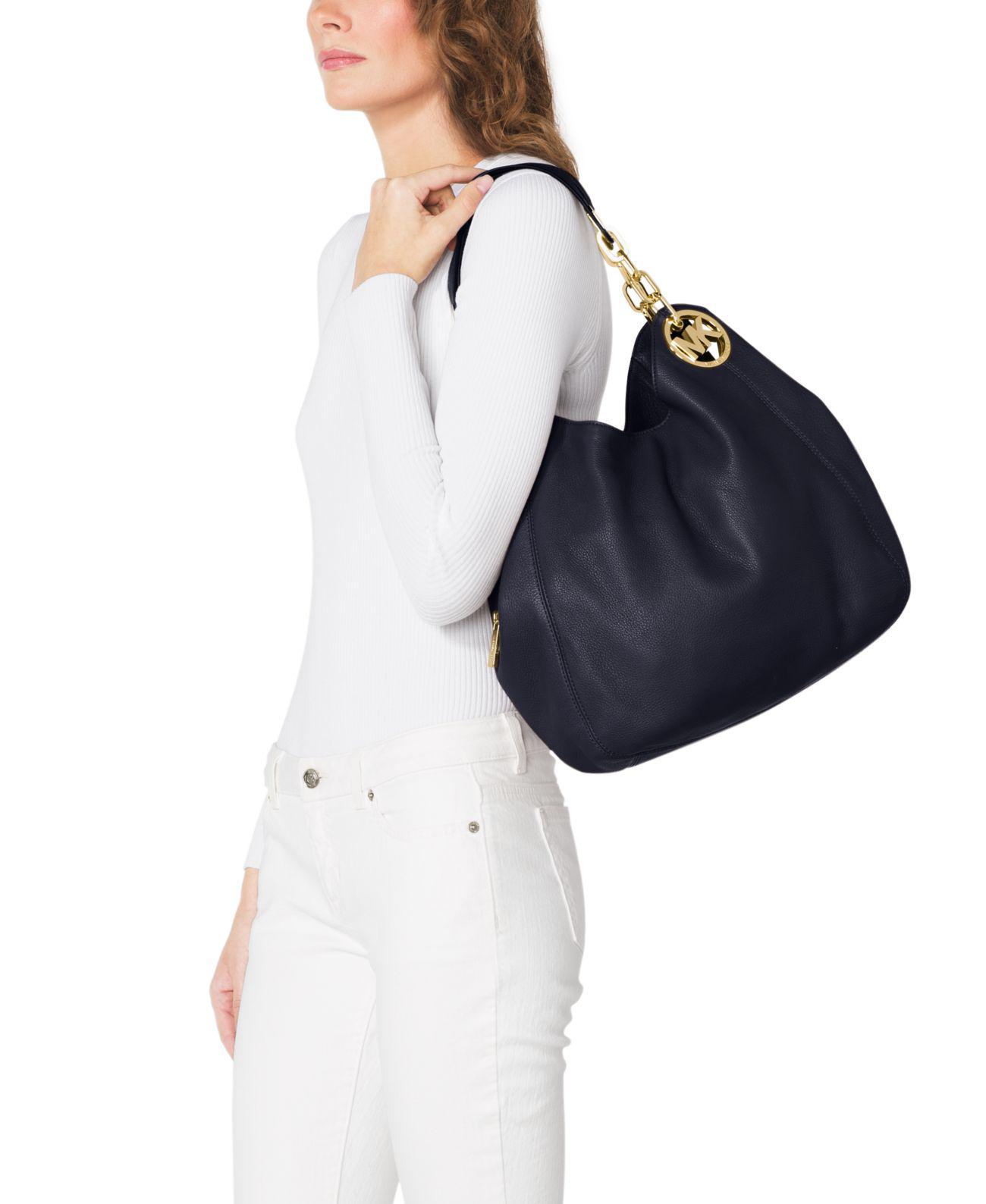0b97cd469497 michael kors fulton large leather shoulder bag navy mksale