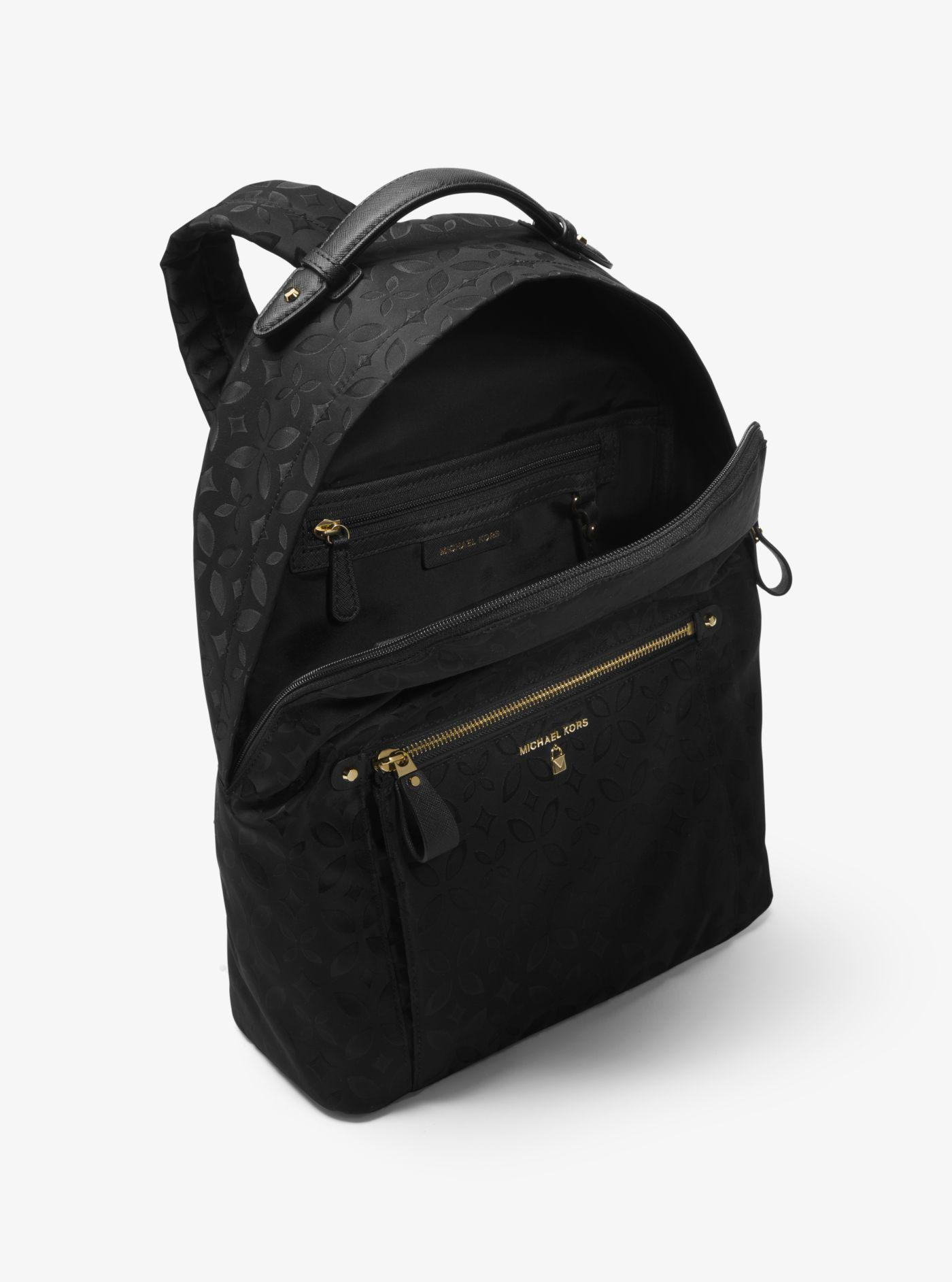 Lyst - Michael Kors Michael Nylon Kelsey Signature Backpack in Black da5450da8bbf3