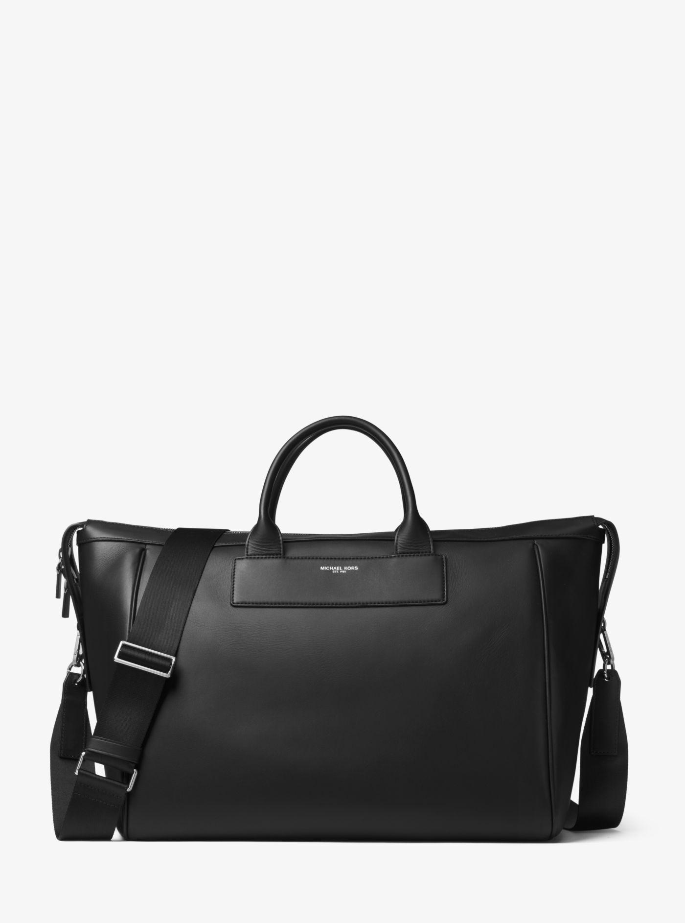 8944b68481cf Michael Kors - Black Henry Leather Duffel for Men - Lyst. View fullscreen