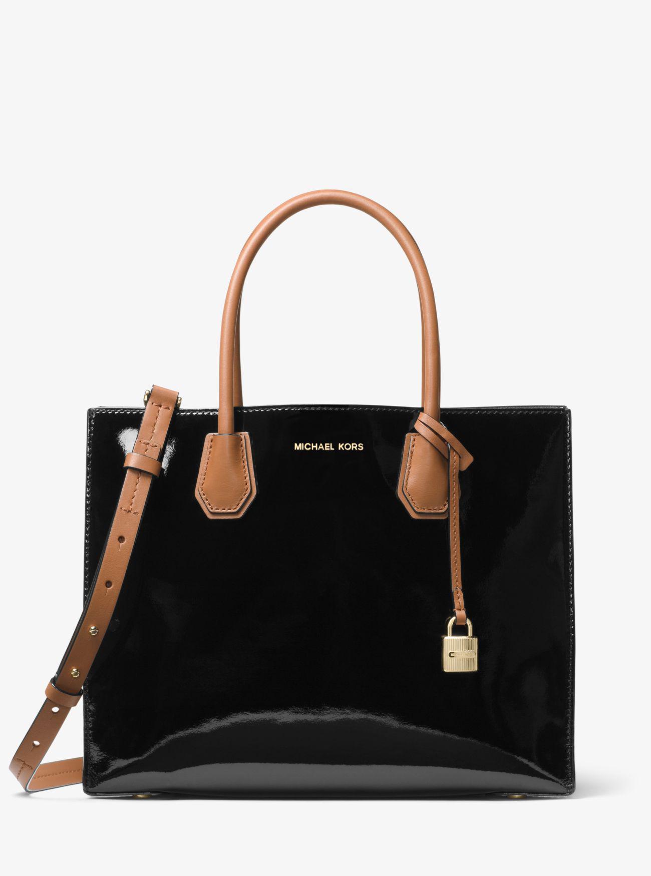 9cf3e564303c ... messenger bag black c0b6e b3b97; australia lyst michael kors mercer  large color block patent leather tote in 12b91 1c6eb