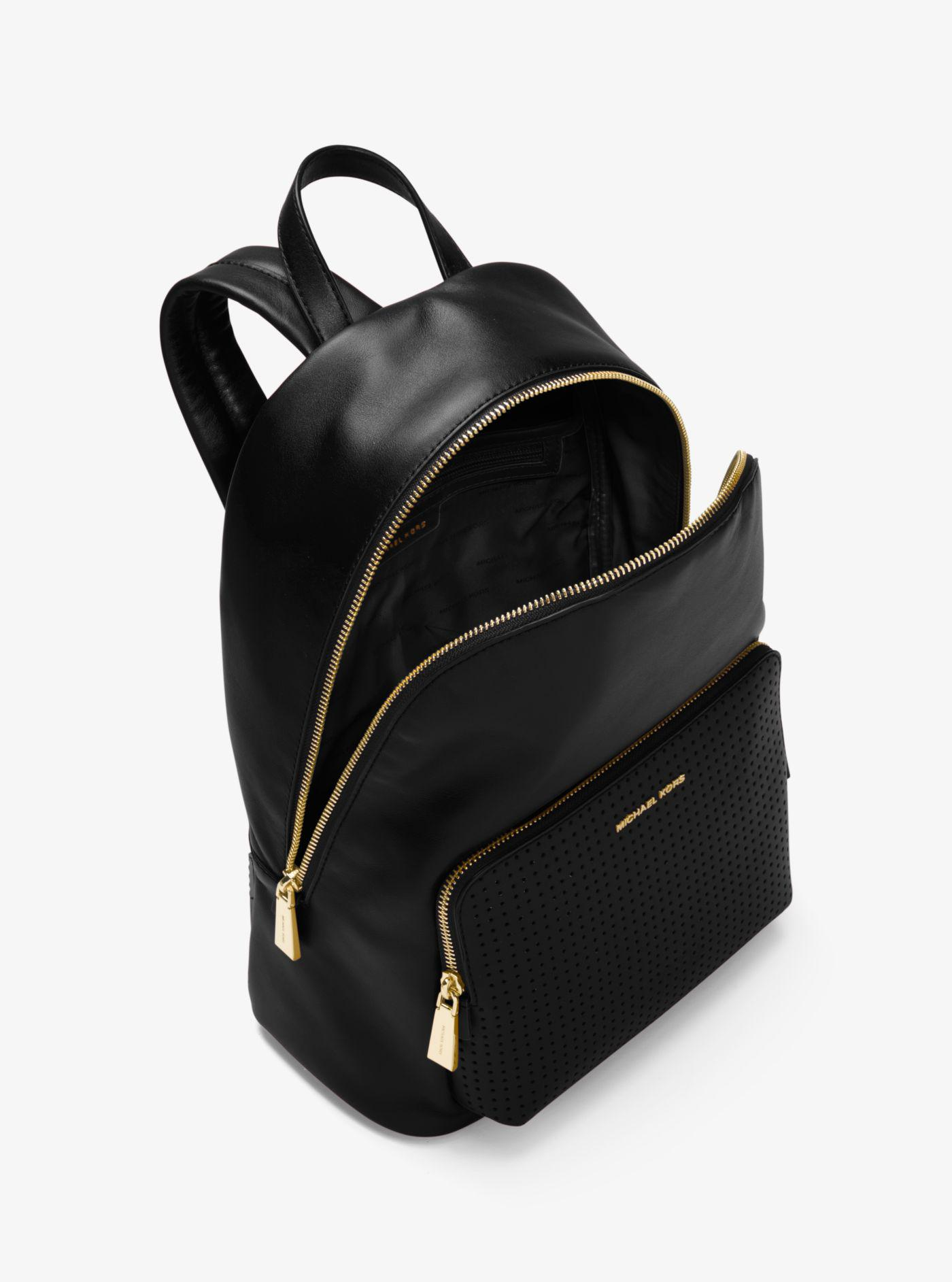 b36a4dacbeb2 Lyst - Michael Kors Wythe Large Perforated Leather Backpack in Black