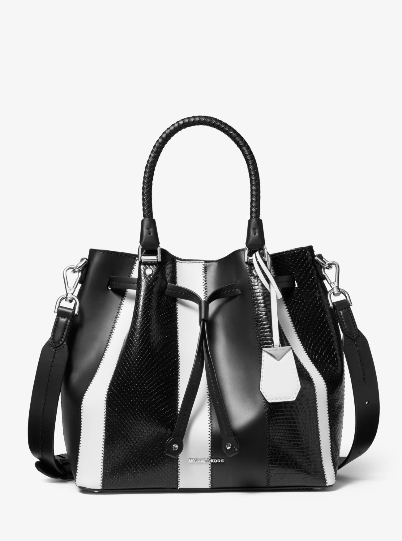 cadff8ed98f9c MICHAEL Michael Kors - Black Blakely Medium Striped Leather Bucket Bag -  Lyst. View fullscreen