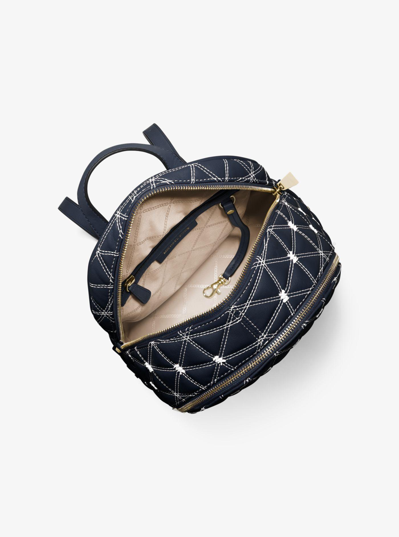 Michael Kors - Blue Rhea Medium Quilted Leather Backpack - Lyst. View  fullscreen b54372dcc9aad