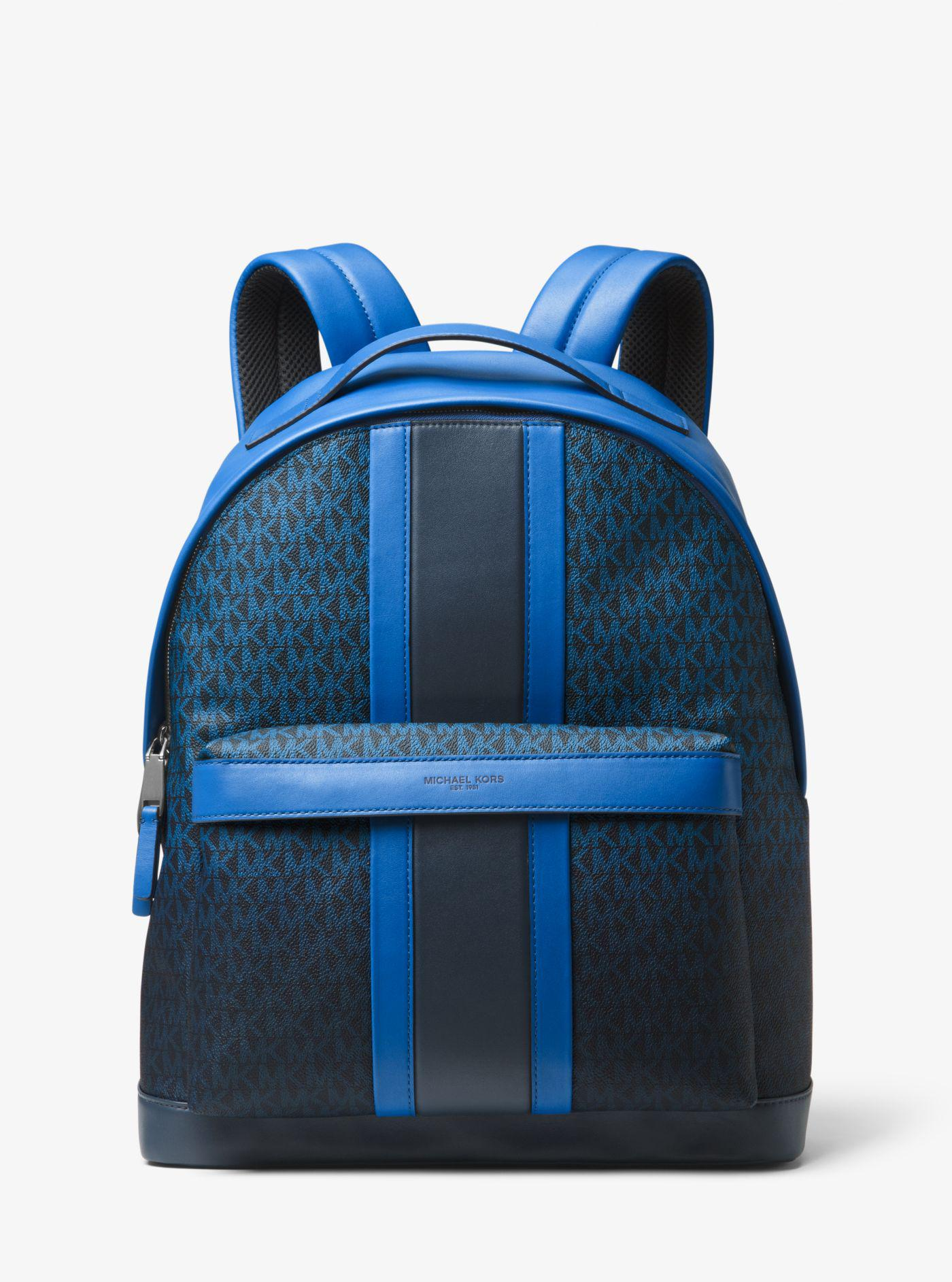 e2b49dc16f14 ... discount lyst michael kors odin logo stripe backpack in blue for men  c00ac e1a6f ...