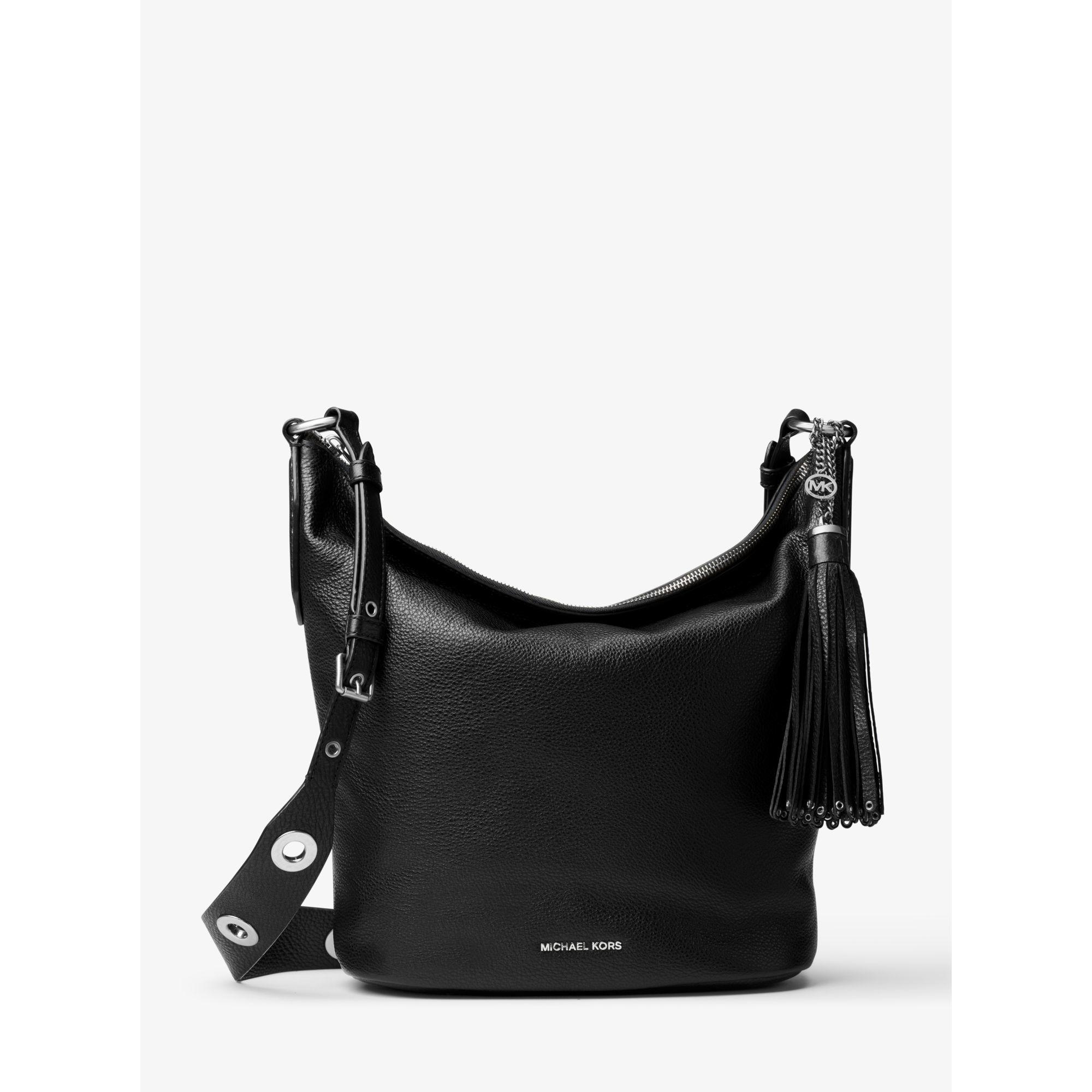 b07c3480985 Lyst - Michael Kors Brooklyn Large Leather Feed Bag in Black