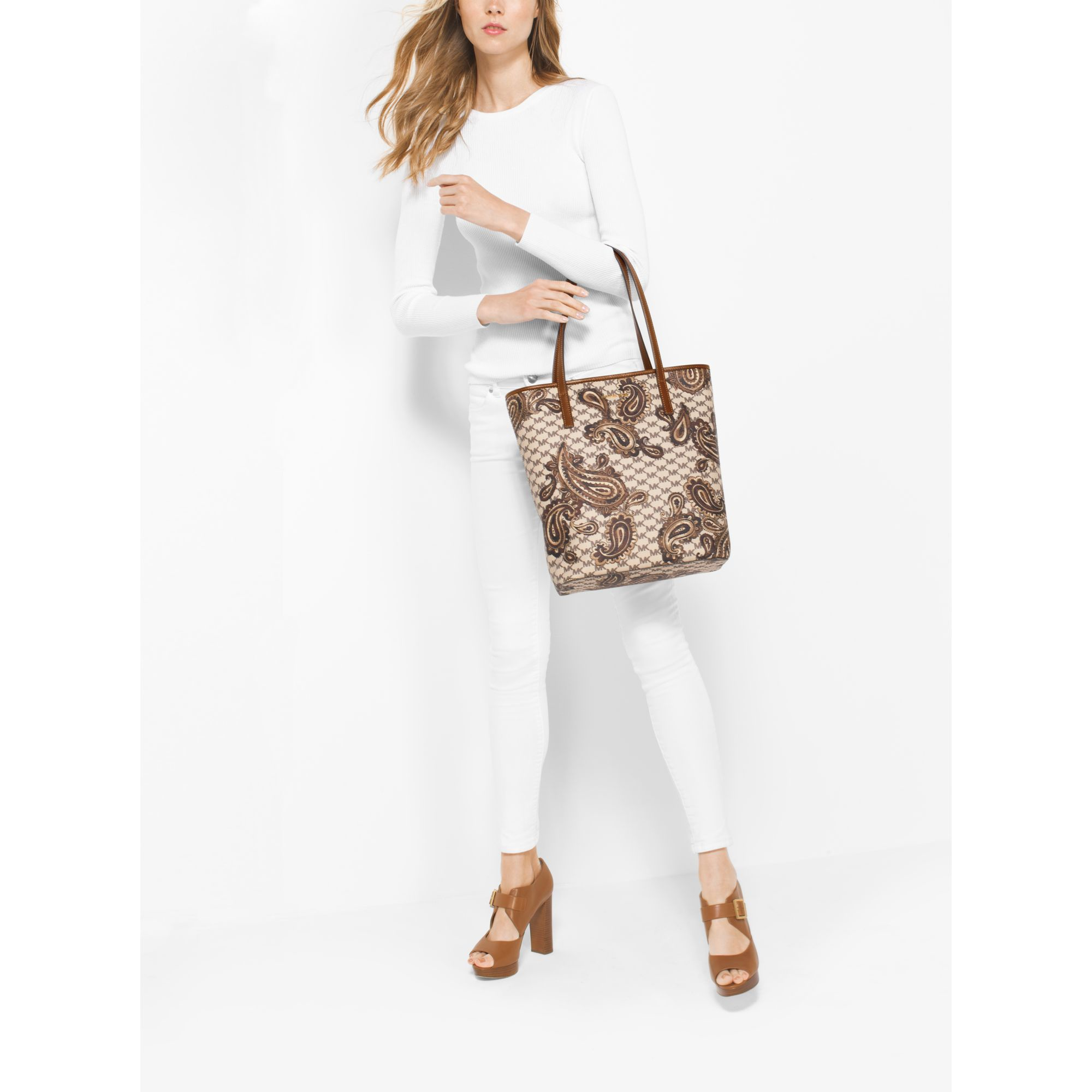 d21c53e6d4b2ee Michael Kors Emry Large North/south Heritage Paisley Tote in Natural ...