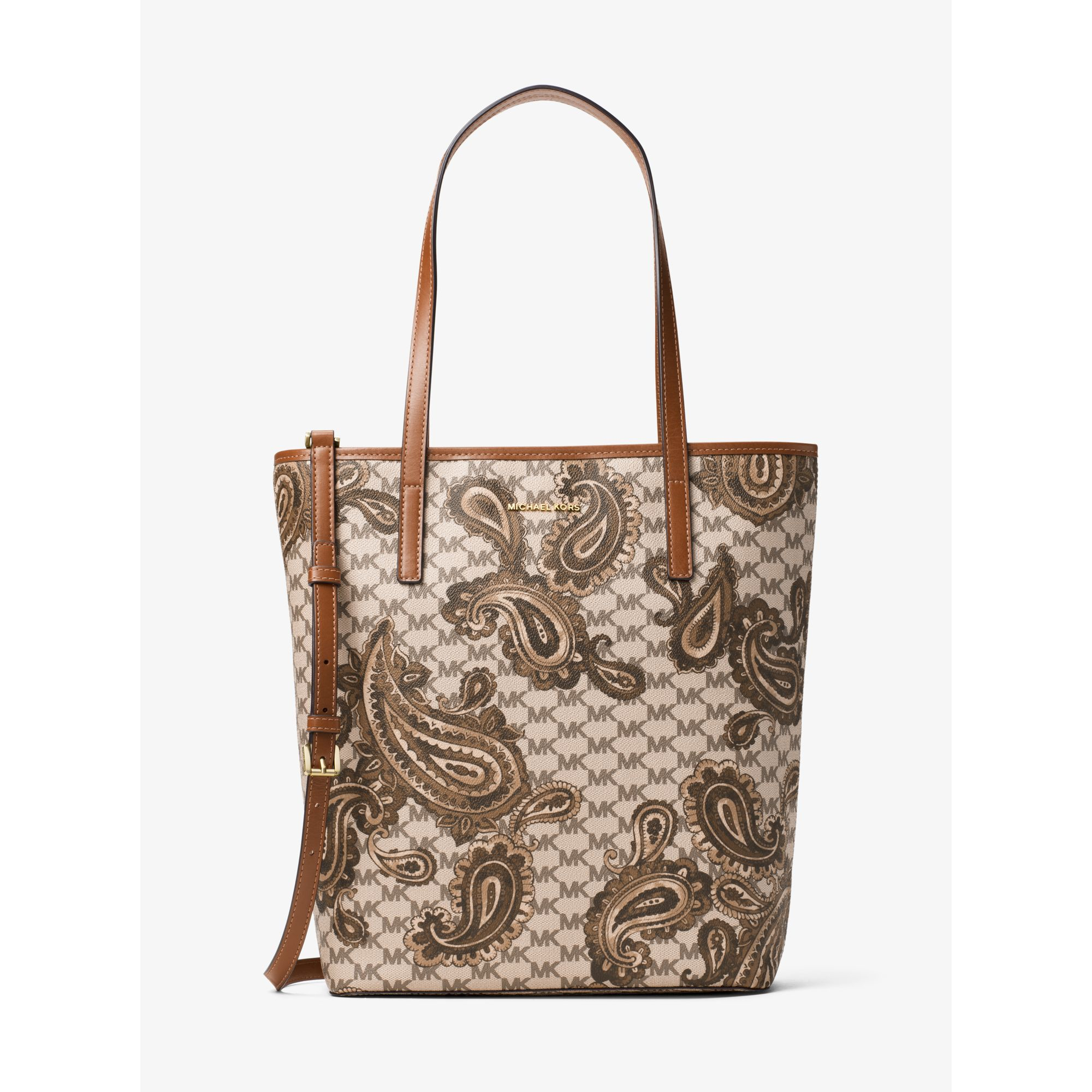 2e69d7beb1f1c3 Michael Kors Emry Large North/south Heritage Paisley Tote in Natural ...