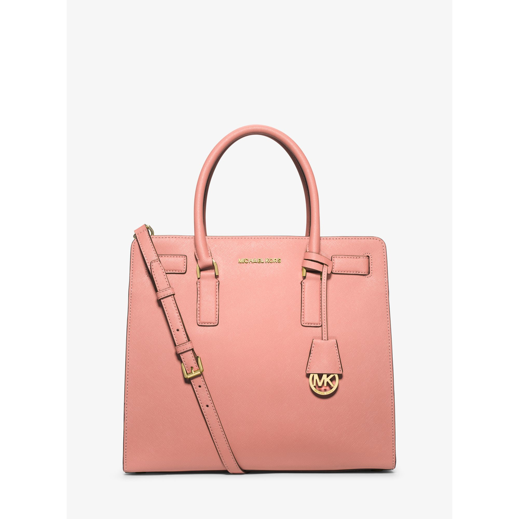 7028689343d3 Lyst - Michael Kors Dillon Large Saffiano Leather Satchel in Pink
