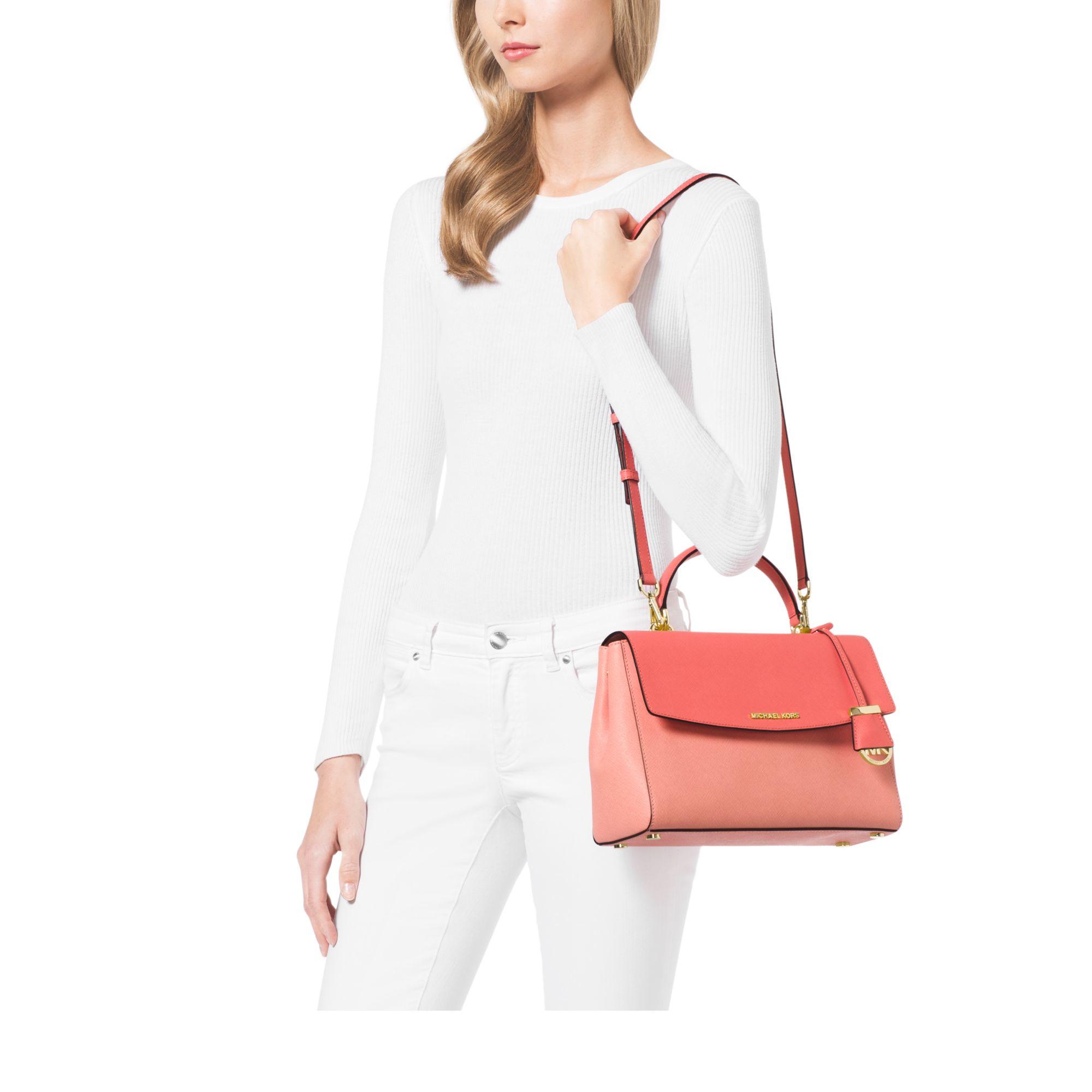 68aca23ddf98 Michael Kors Ava Medium Color-block Saffiano Leather Satchel - Lyst