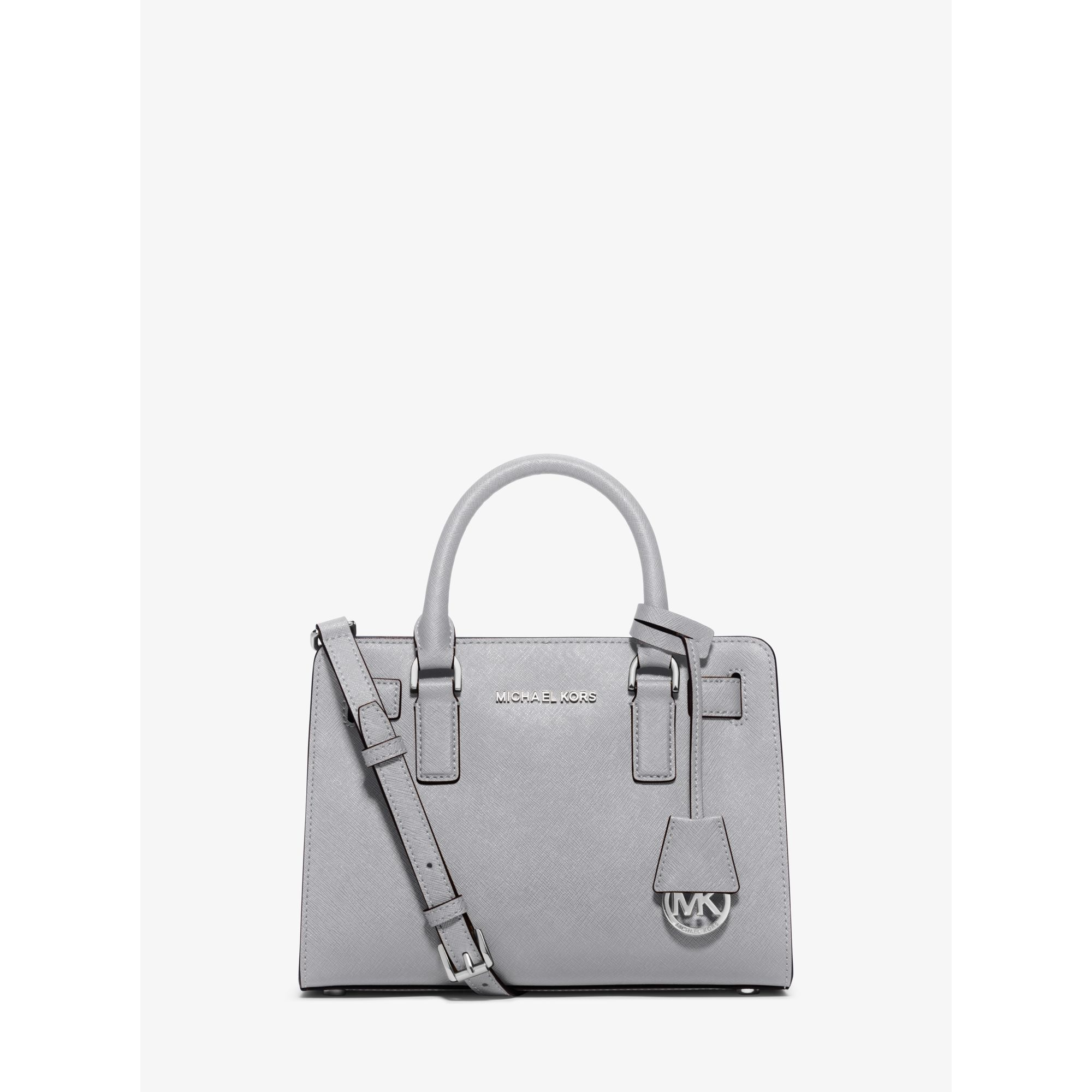 1fa8d9ee620d Lyst - Michael Kors Dillon Small Saffiano Leather Satchel in Gray