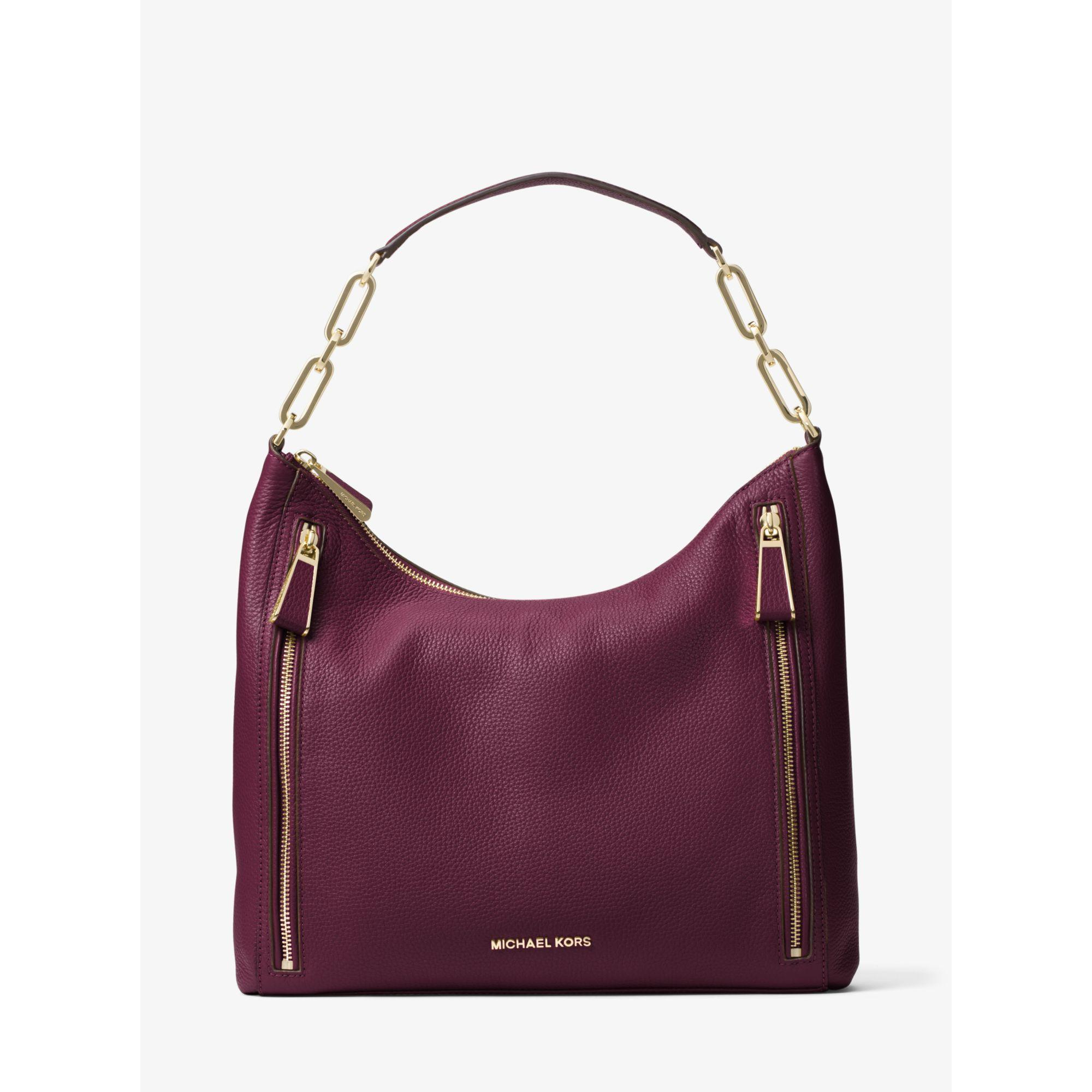6045c2ff4ff9 Michael Kors Matilda Large Leather Shoulder Bag in Purple - Lyst