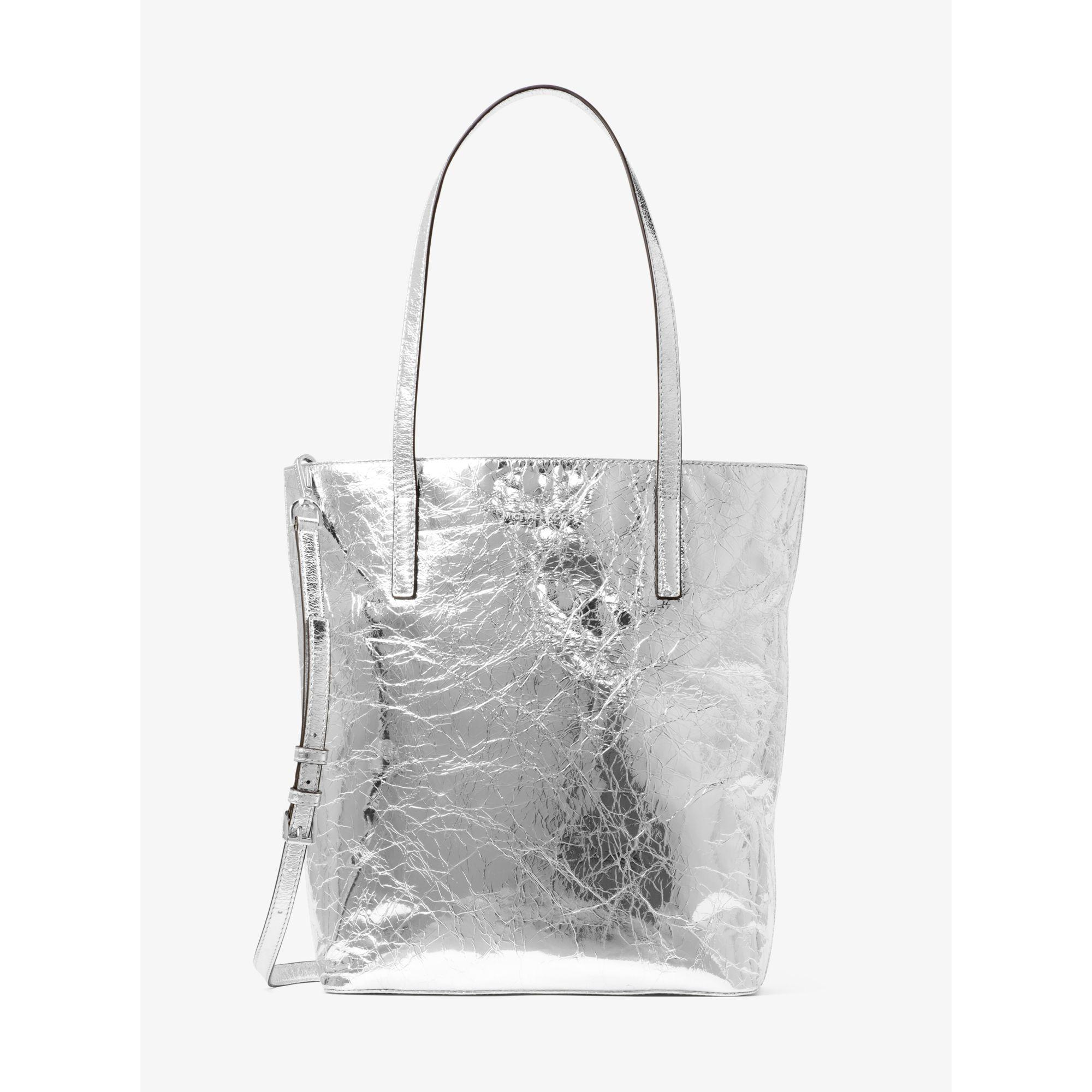 a5774be36dc0 Michael Kors Emry Large Crinkled-leather Tote Bag in Metallic - Lyst