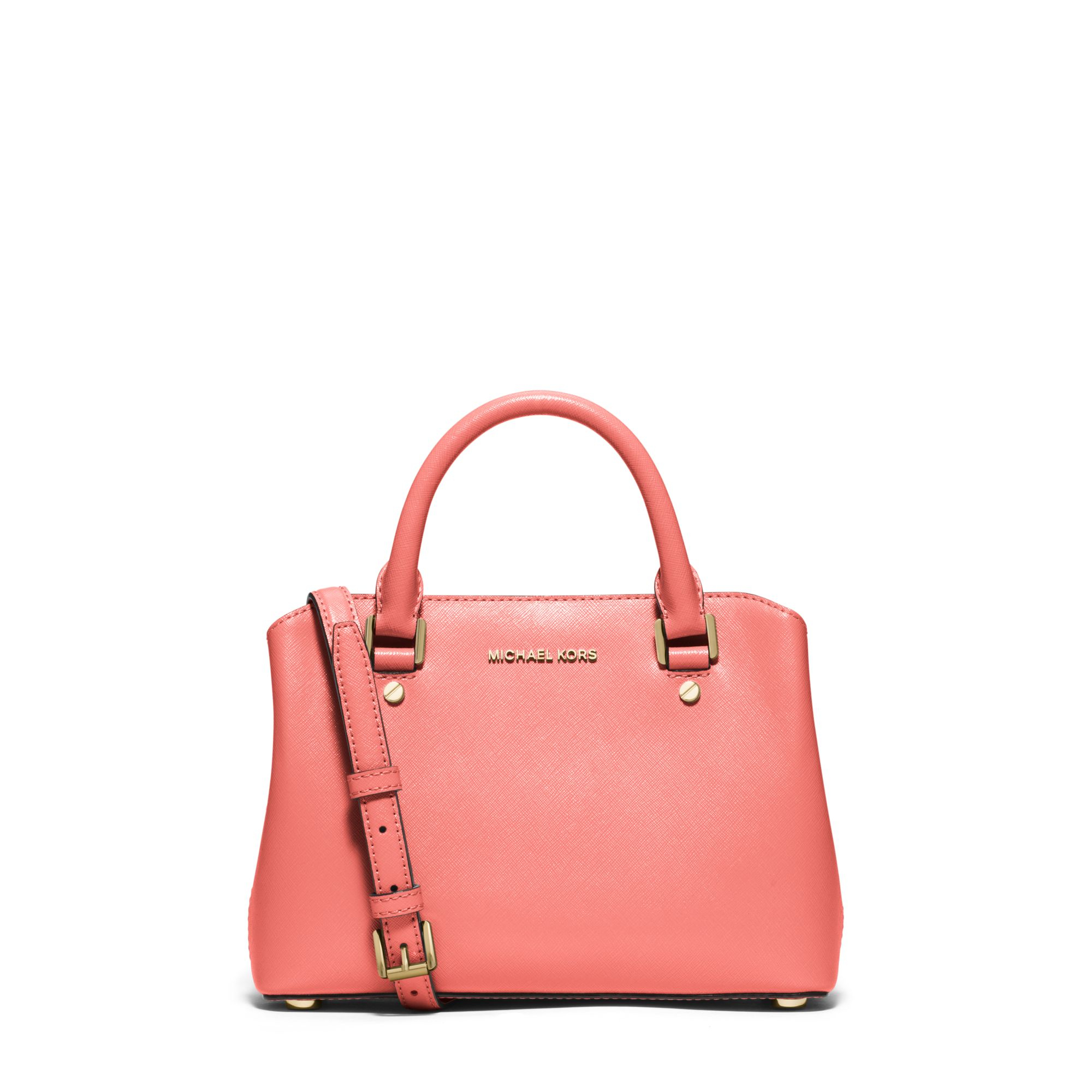 81ed6dcb5fe Michael Kors Savannah Small Patent Saffiano Leather Satchel in Pink ...