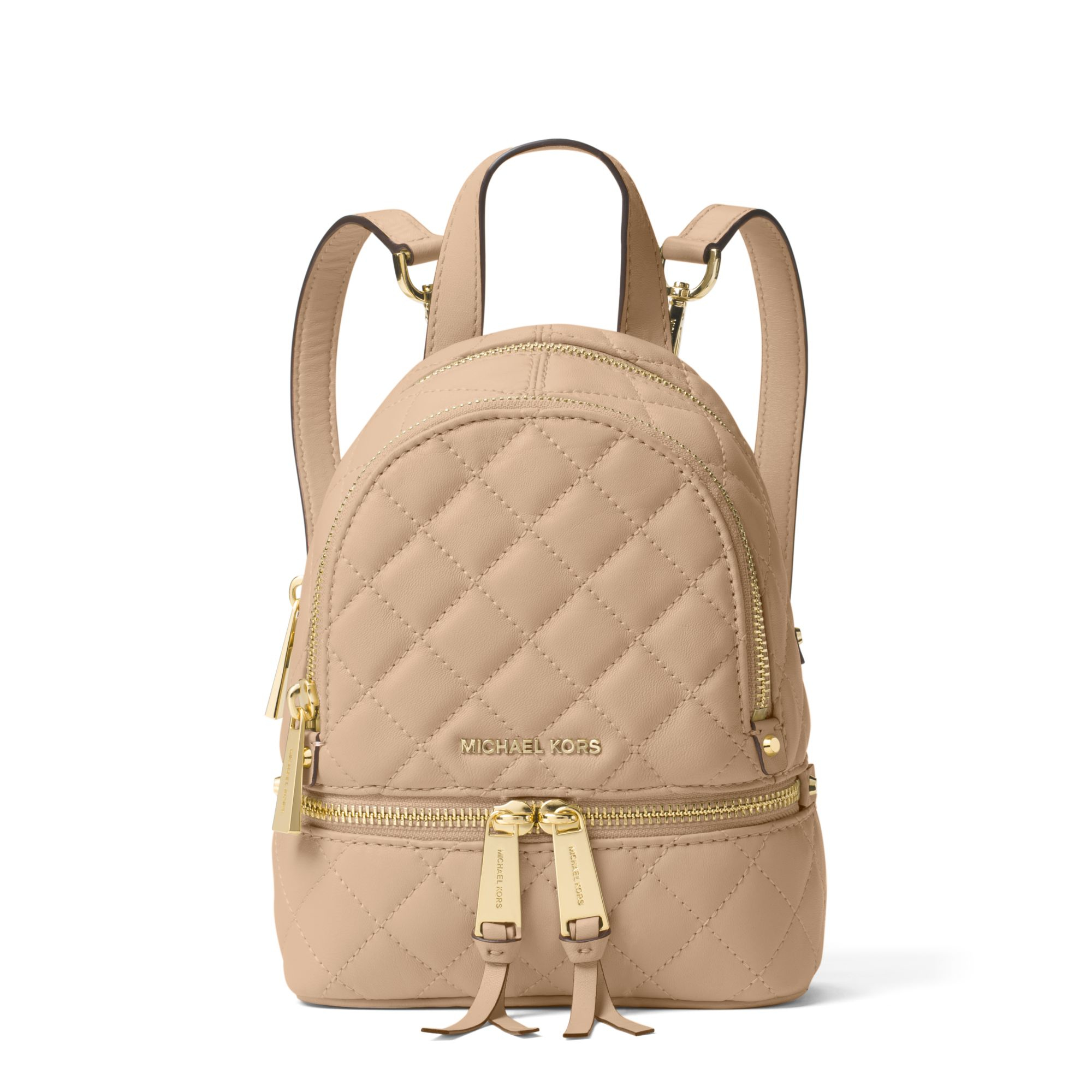 Lyst - Michael Kors Rhea Extra-small Quilted-leather Backpack in Natural