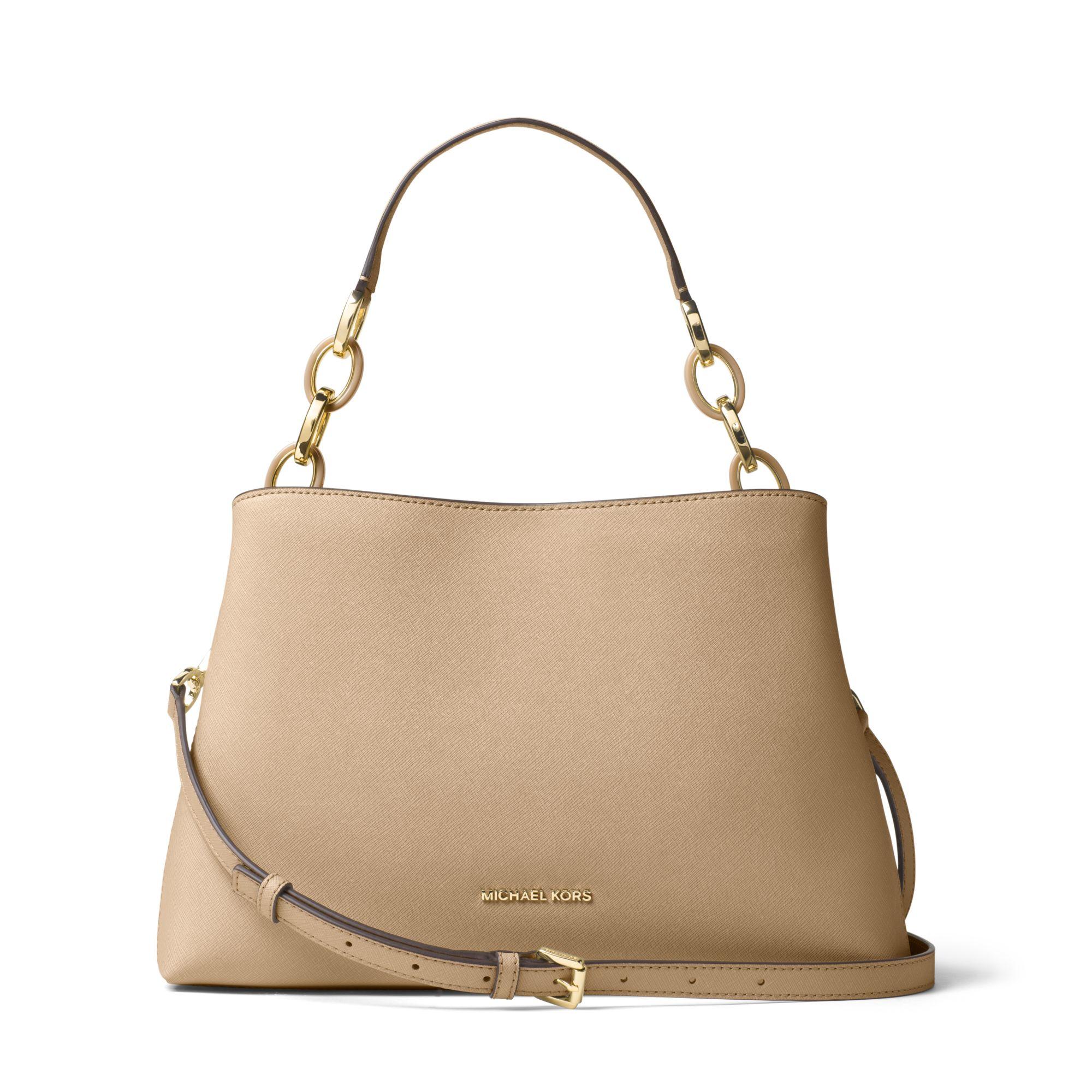 michael kors portia large saffiano leather shoulder bag in