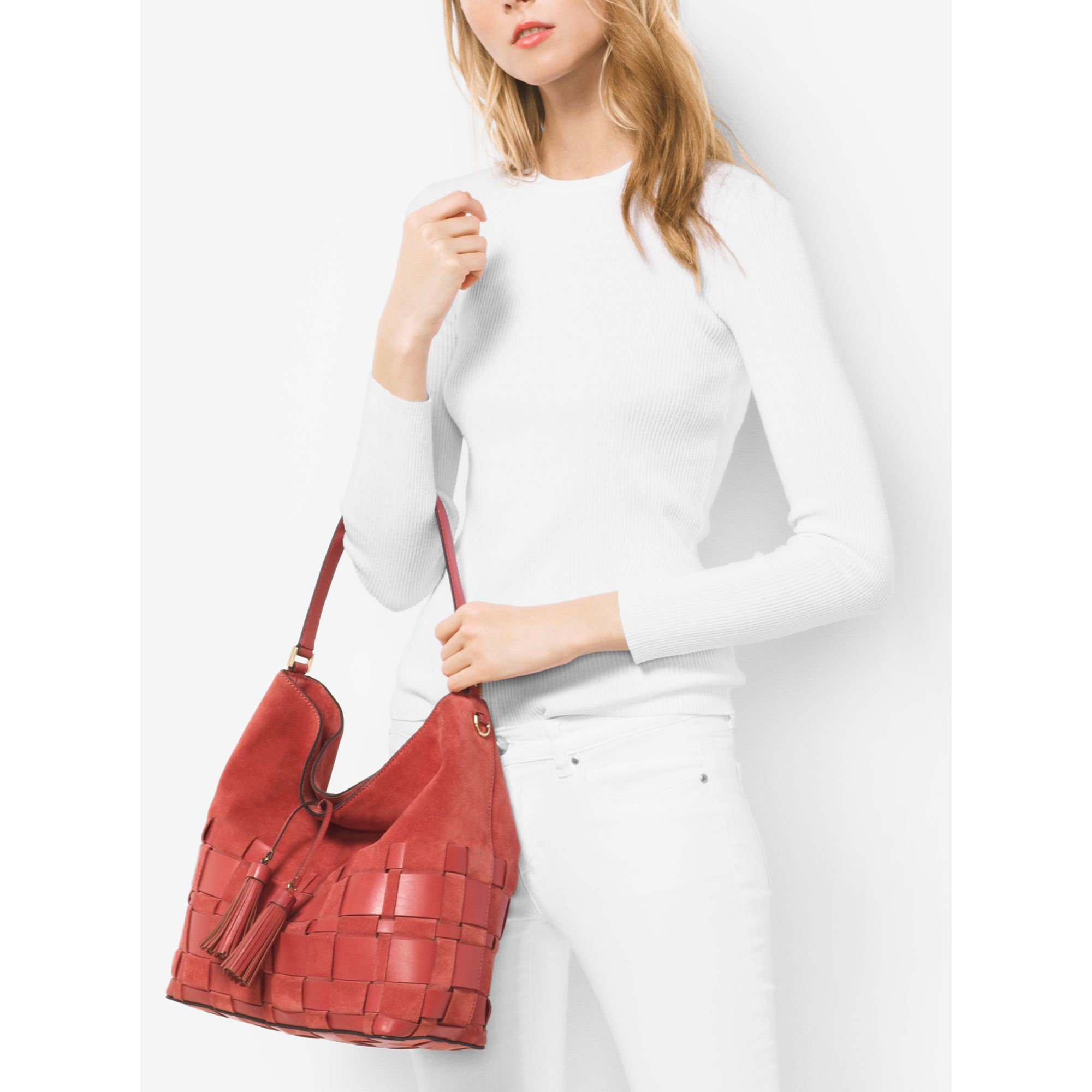 f2e88e14d335 Michael Kors Vivian Large Woven Suede And Leather Hobo Bag in Brown - Lyst