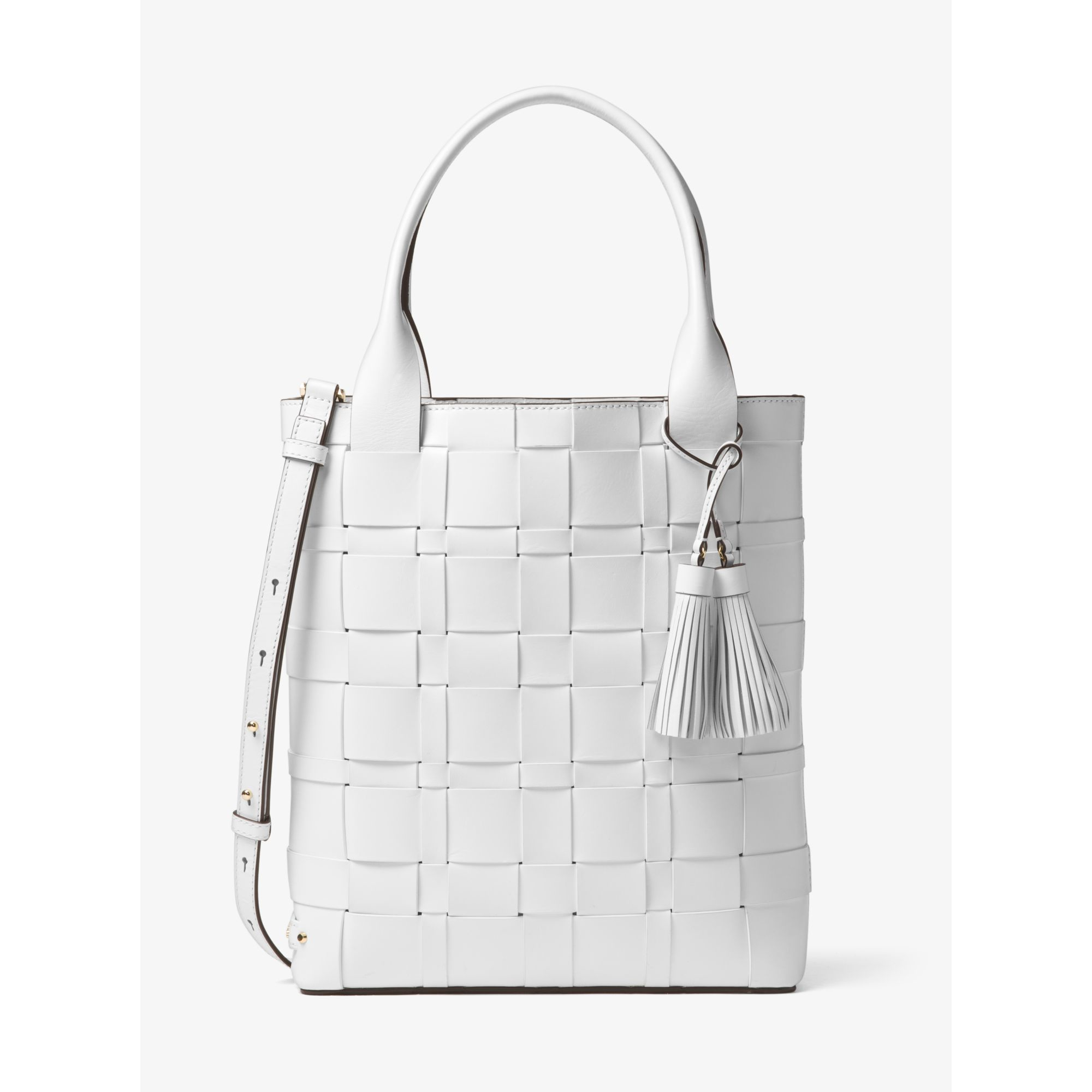 Lyst - Michael Kors Vivian Large Woven Leather Tote in White 71bd99ef7cfa4
