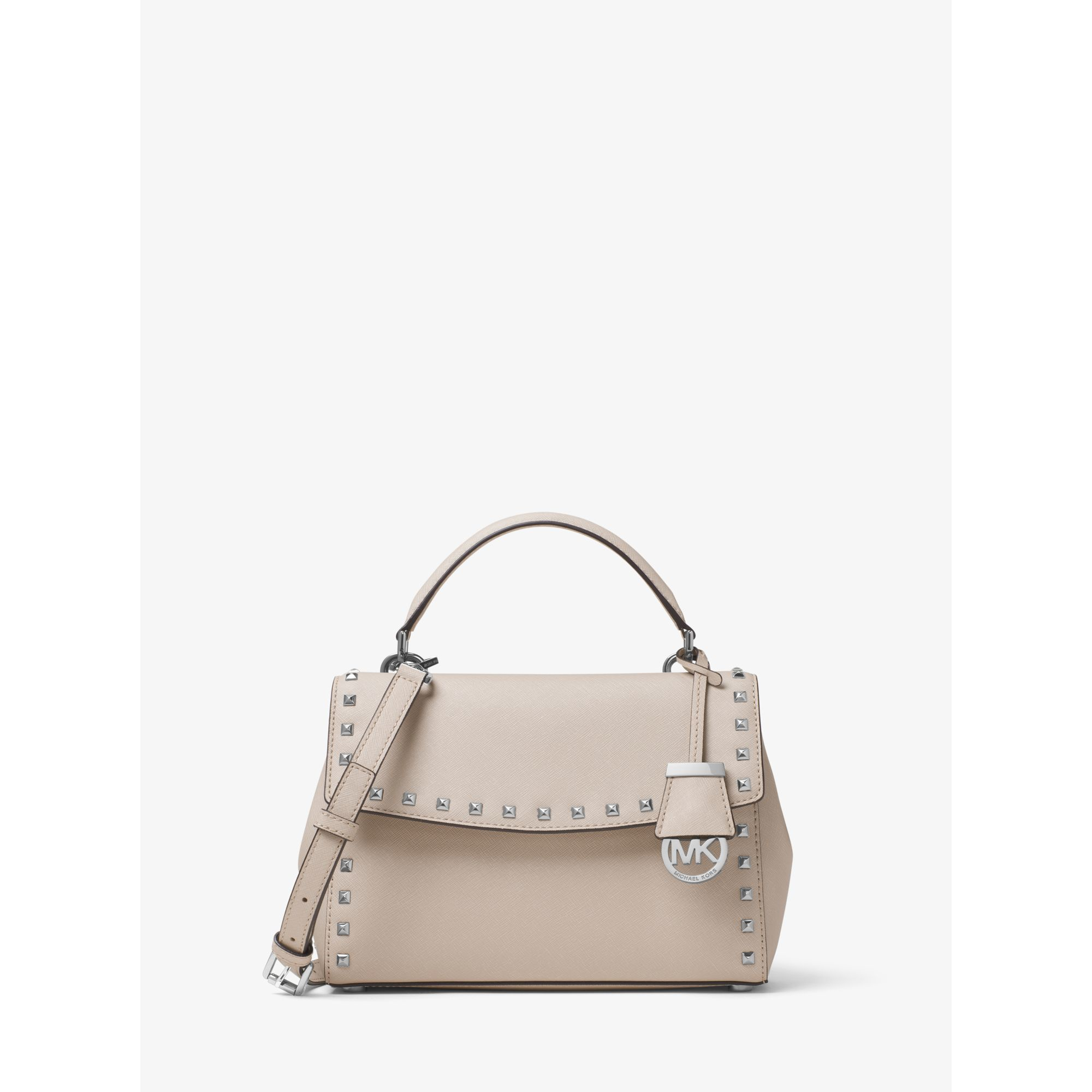 3285668b04a6 Michael Kors Ava Small Studded Leather Satchel in Natural - Lyst