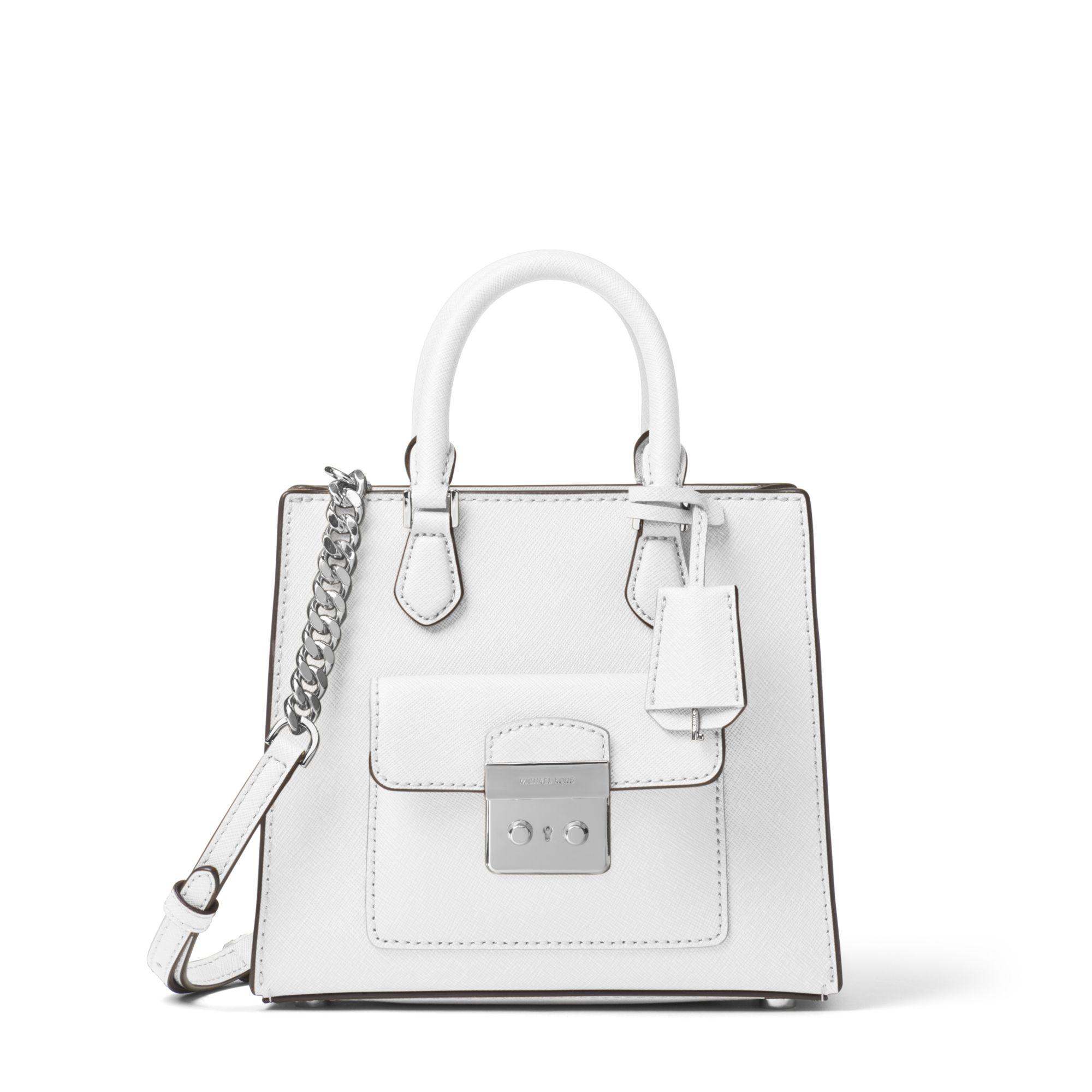 22395c193750 Michael Kors Bridgette Small Saffiano Leather Crossbody Bag in White ...