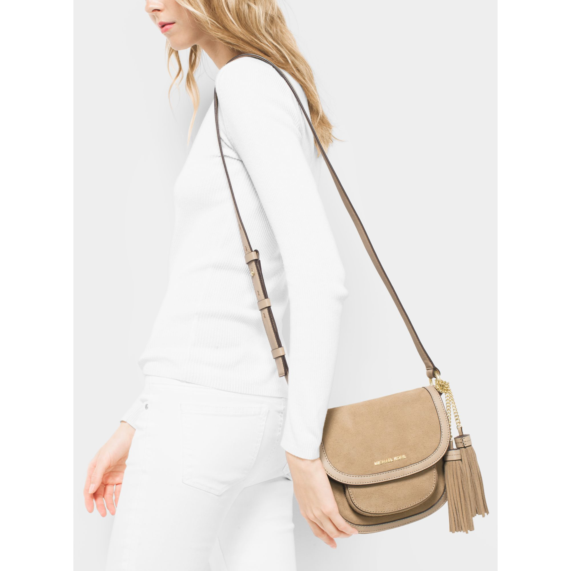 c5aa88159259 ... coupon code for lyst michael kors dunn medium suede saddlebag in  natural 75bbd 518e6