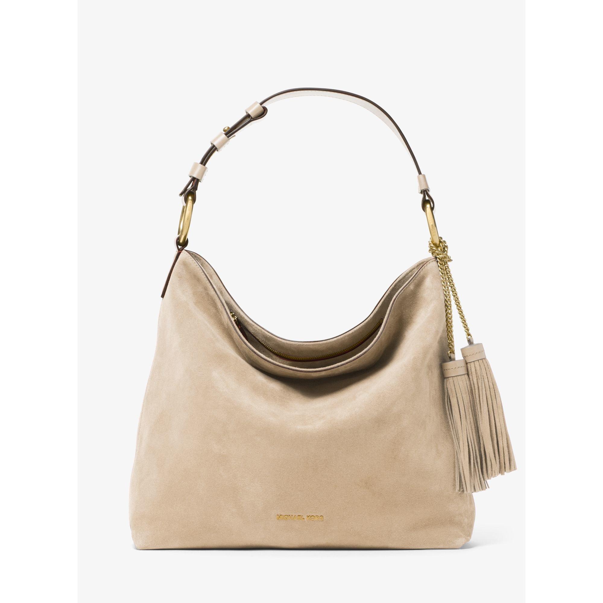 6b9f27d667 Lyst - Michael Kors Elyse Large Suede Shoulder Bag in Natural