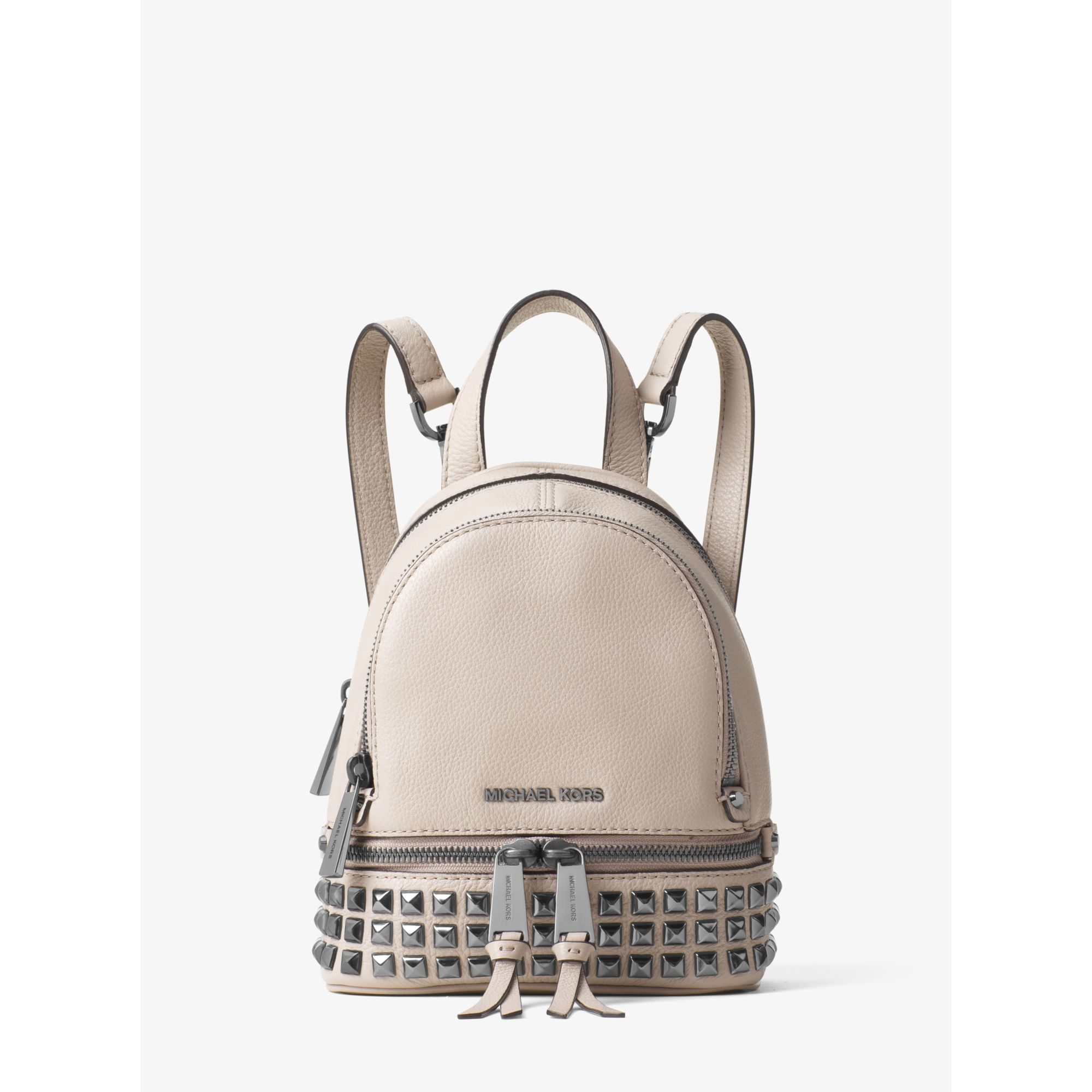 Lyst Michael Kors Rhea Extra small Studded Leather Backpack in Gray