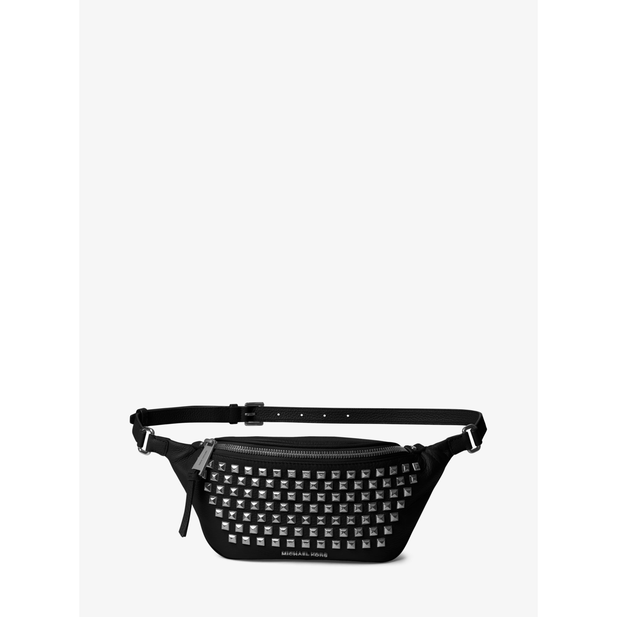 ffe301b16ee3a0 Michael Kors Rhea Leather Pyramid Studded Belt Bag in Black - Lyst