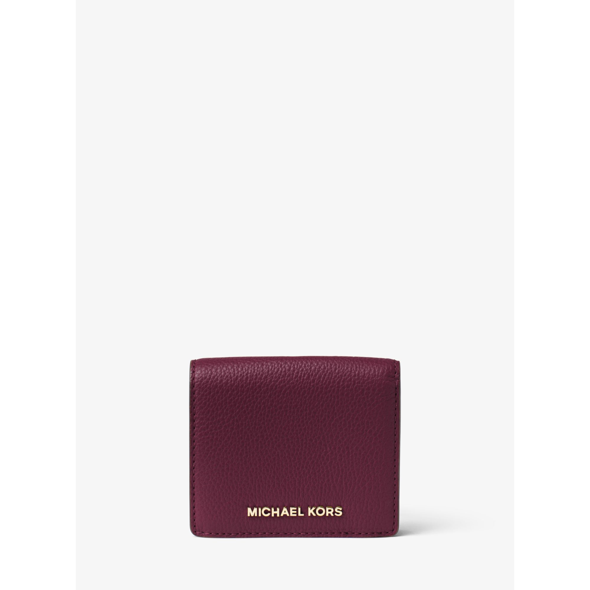 d18bb7d022c729 Michael Kors Bedford Leather Card Holder in Purple - Lyst
