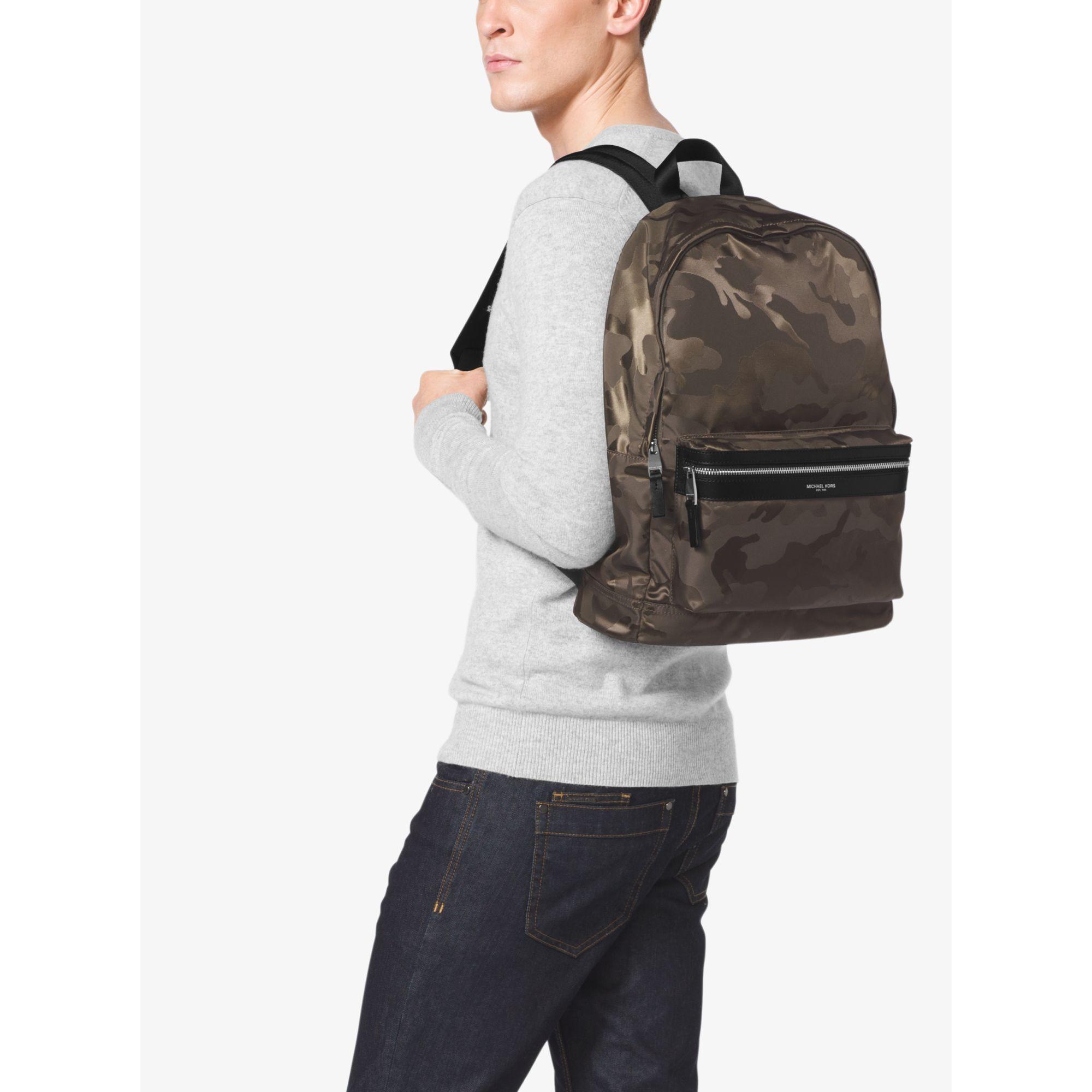 774677b7556c Michael Kors Kent Camouflage Nylon Jacquard Backpack in Green for ...