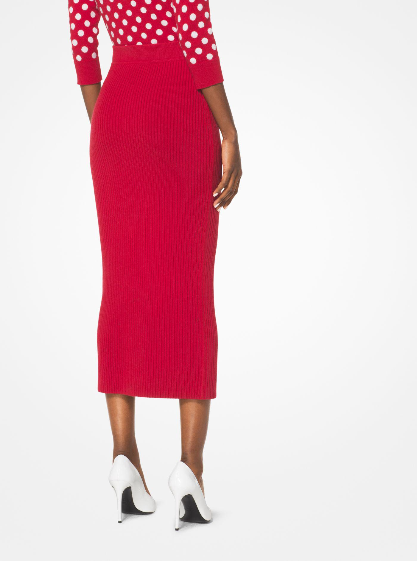 c1ac25e002 Michael Kors Ribbed Cashmere Tube Skirt in Red - Lyst