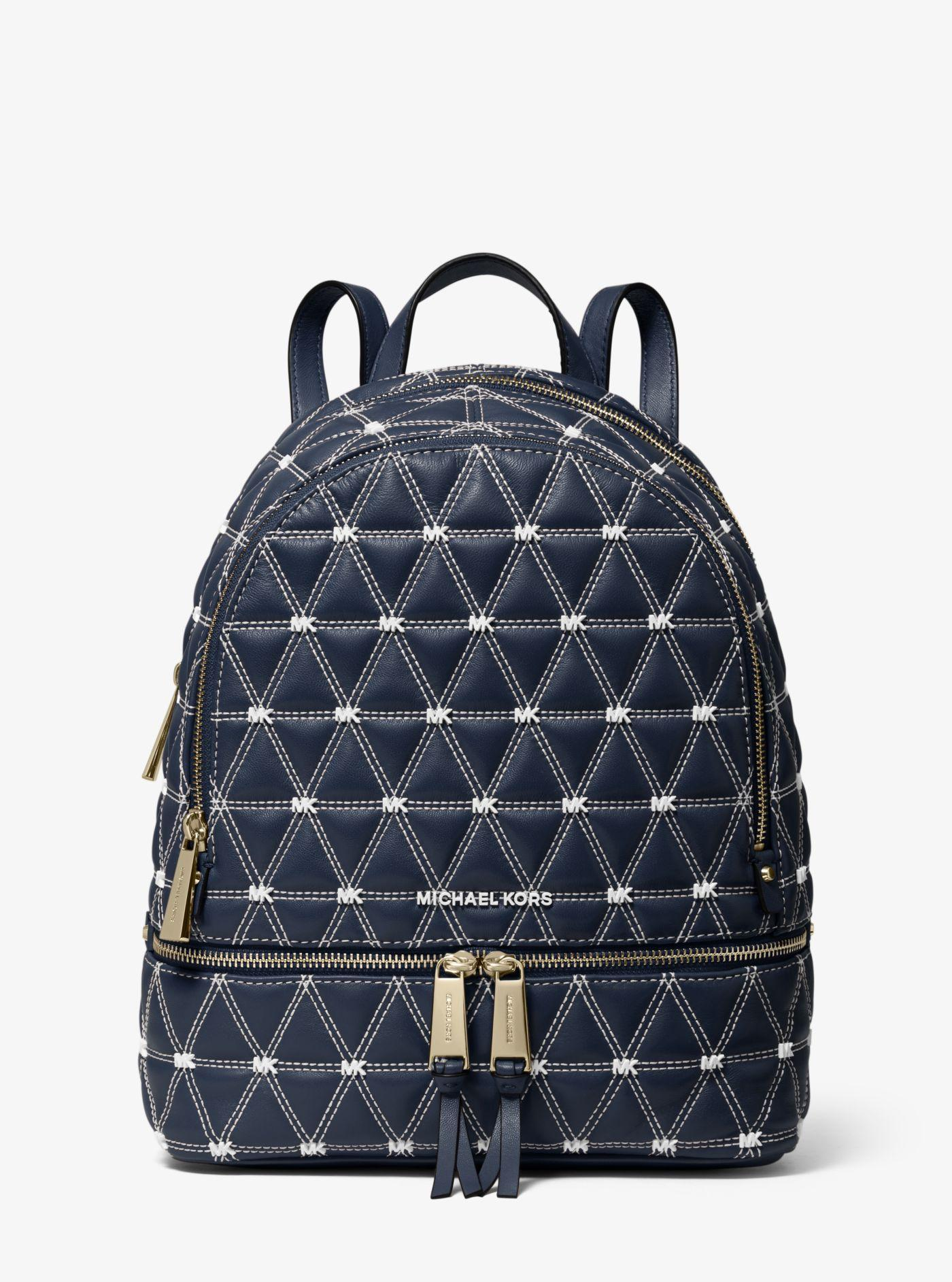 Lyst - Michael Kors Rhea Medium Quilted Leather Backpack in Blue 7e1cf8b711480